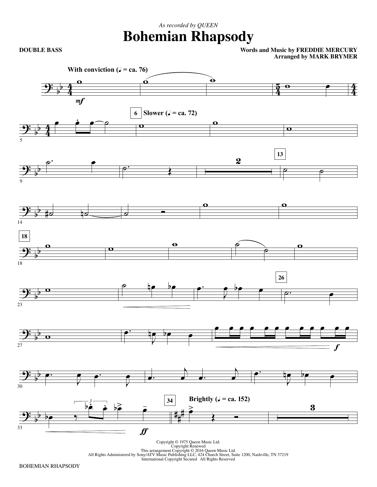 Bohemian Rhapsody (arr. Mark Brymer) - Double Bass (Choir Instrumental Pak)