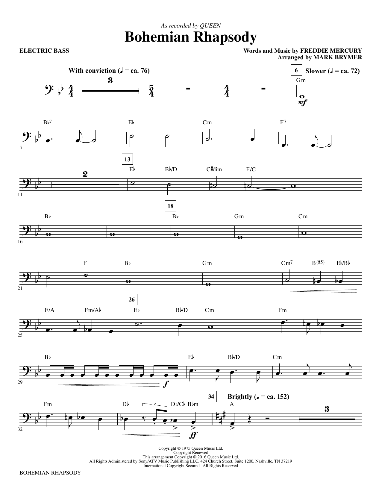 Bohemian Rhapsody (arr. Mark Brymer) - Electric Bass (Choir Instrumental Pak)