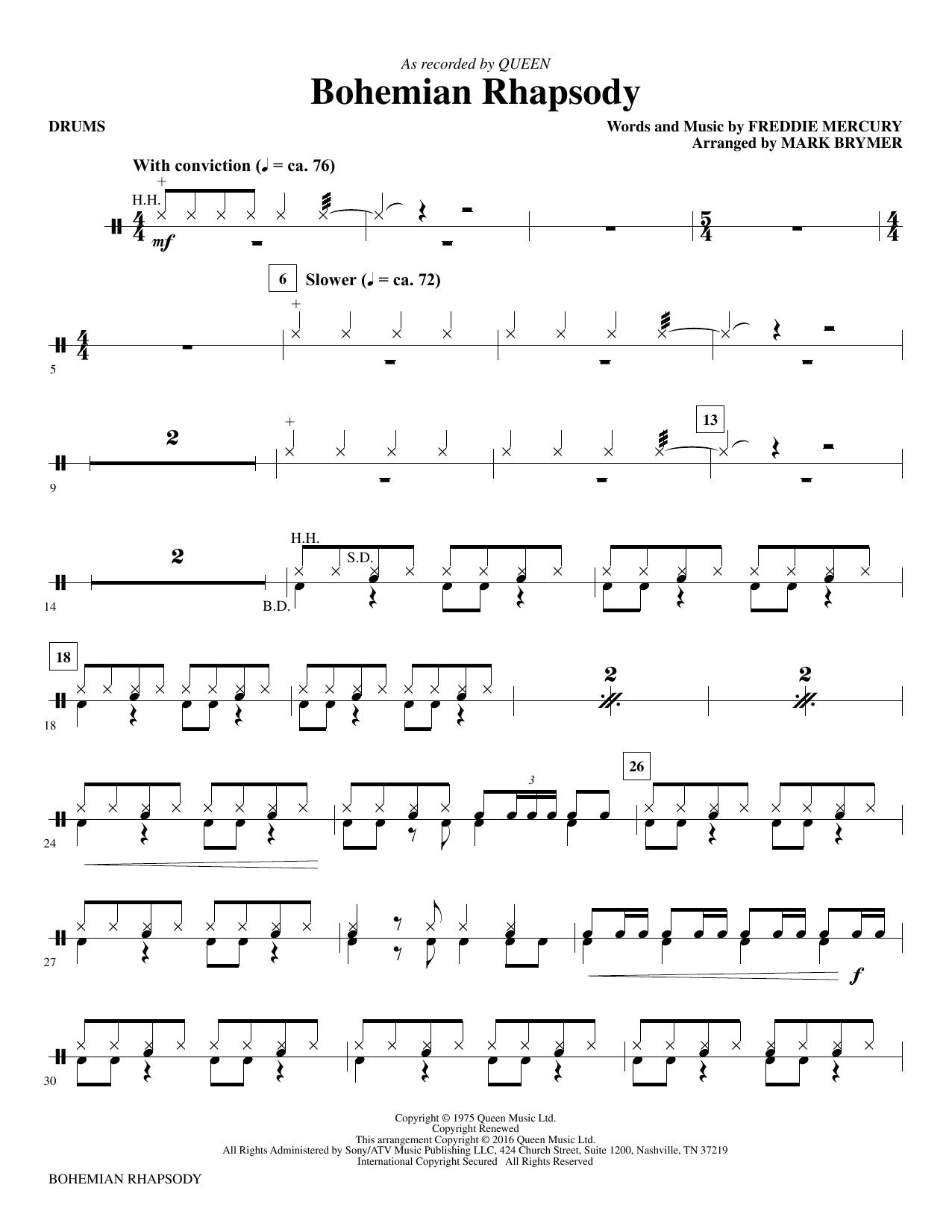 Bohemian Rhapsody (arr. Mark Brymer) - Drums (Choir Instrumental Pak)