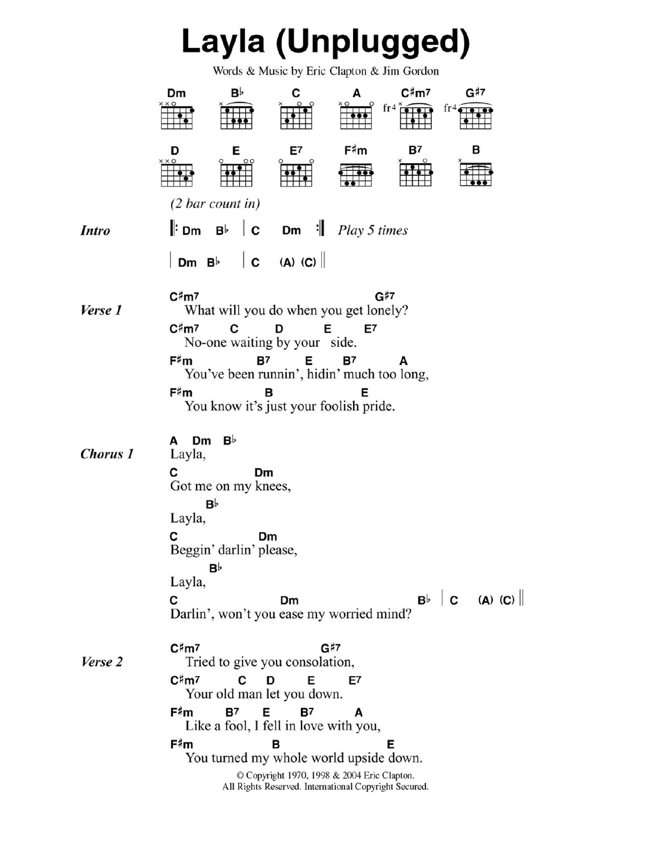 tab layla acoustic