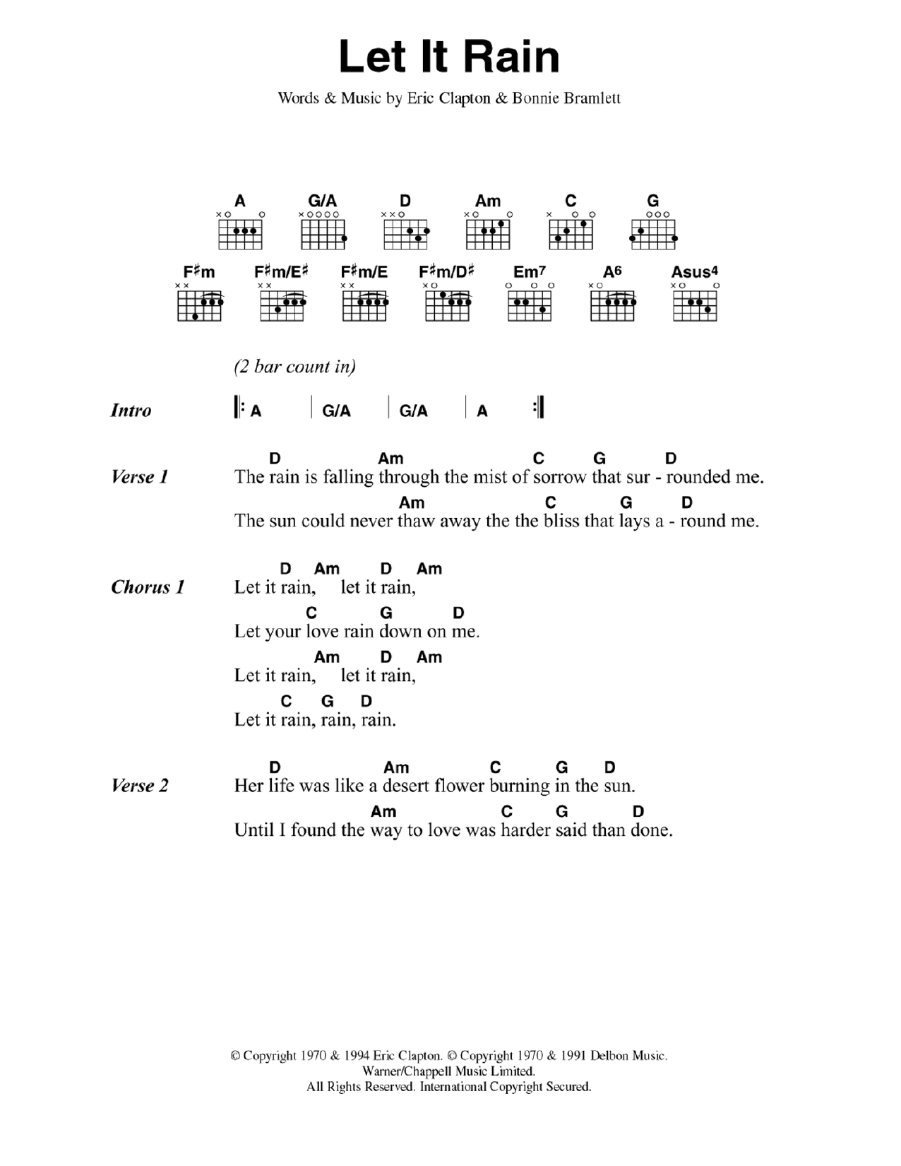 Let It Rain Sheet Music Eric Clapton Lyrics Chords