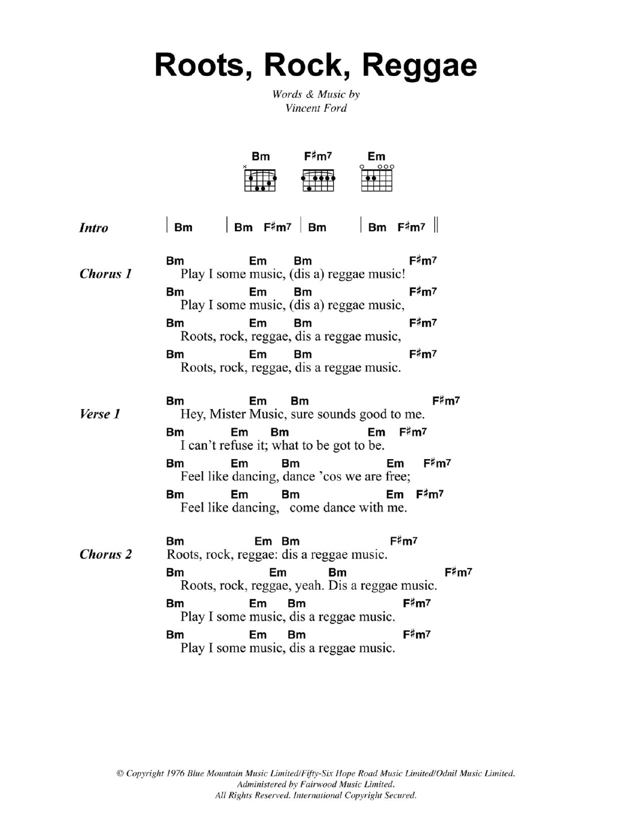 Roots, Rock, Reggae (Guitar Chords/Lyrics)