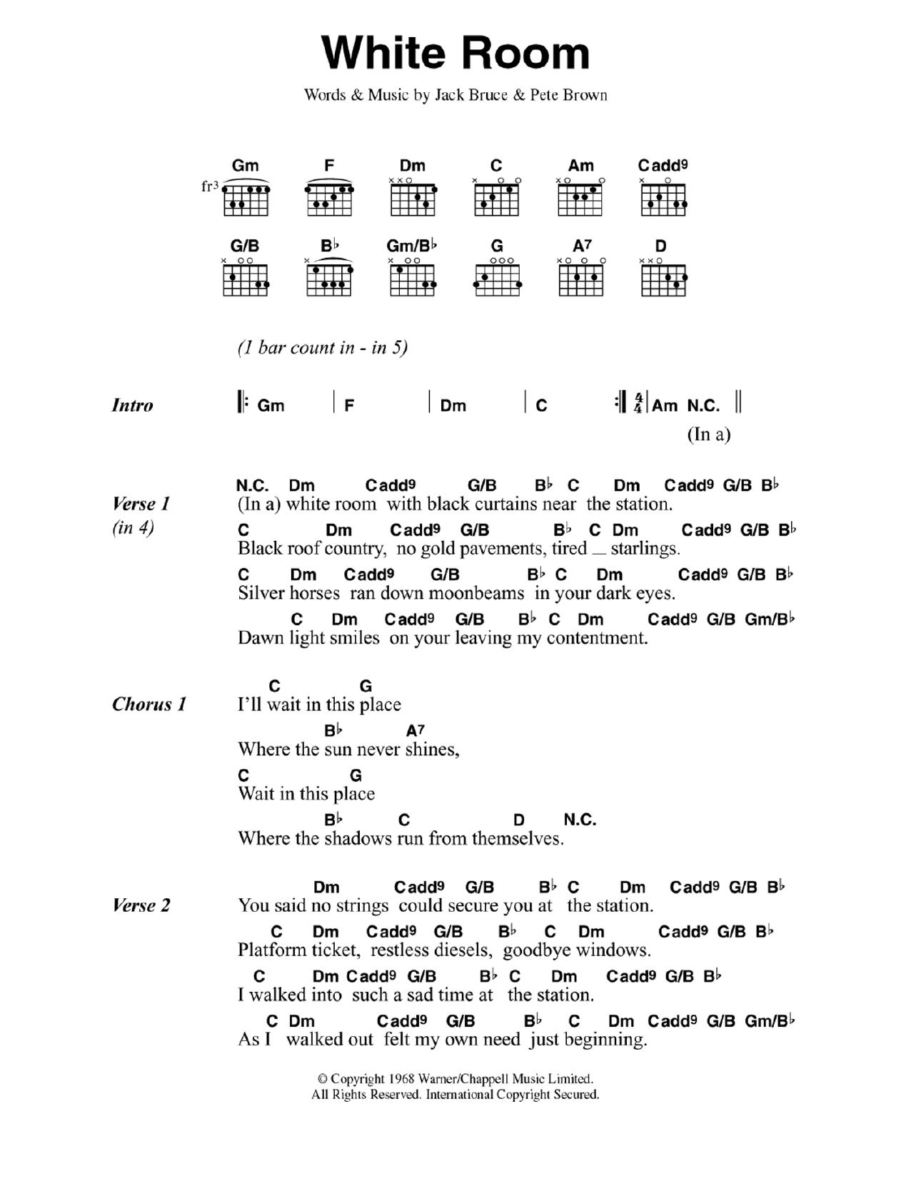 White Room by Cream - Guitar Chords/Lyrics - Guitar Instructor