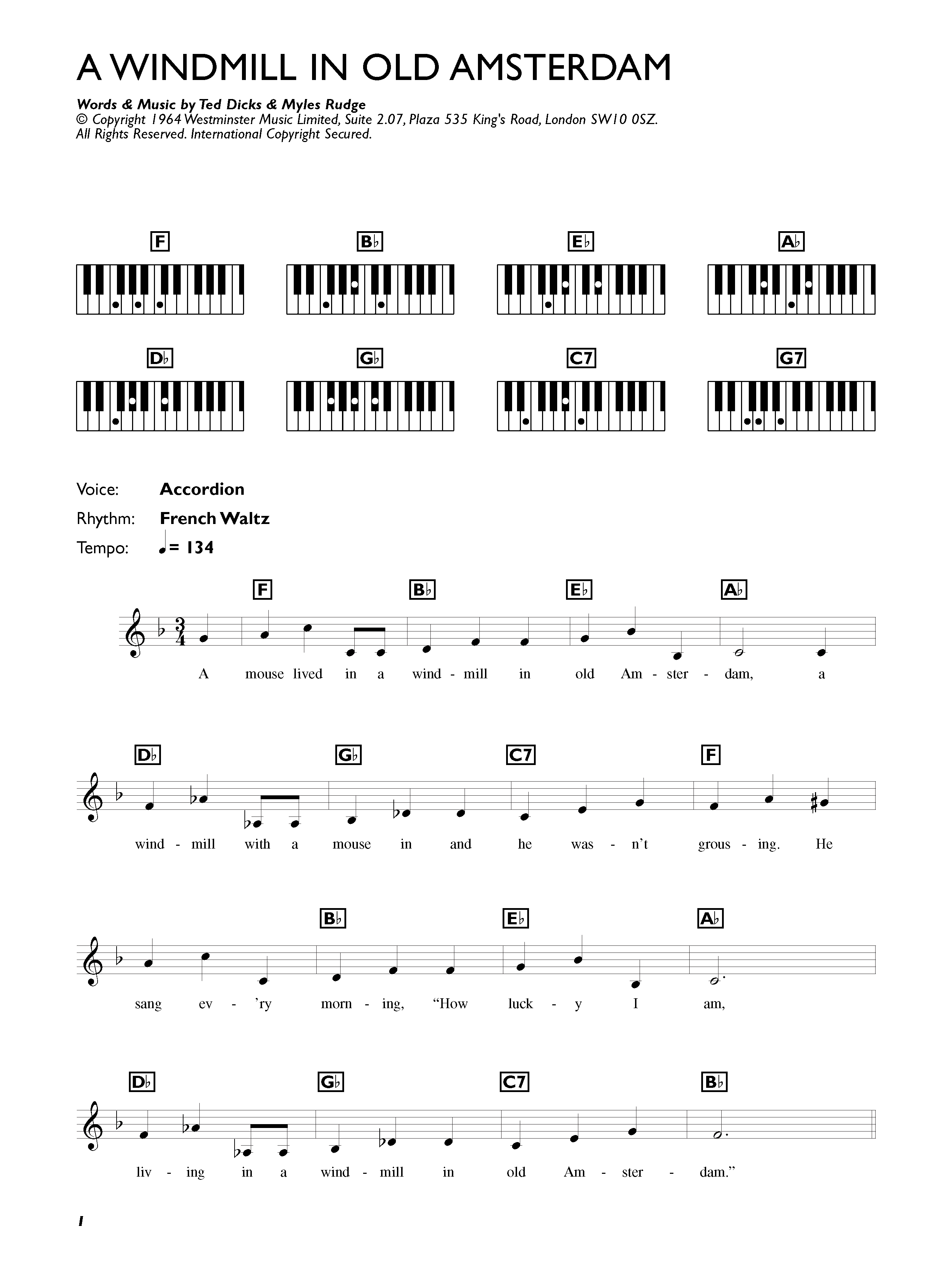 A Windmill In Old Amsterdam by Ronnie Hilton Piano, Vocal & Guitar  (Right-Hand Melody) Digital Sheet Music