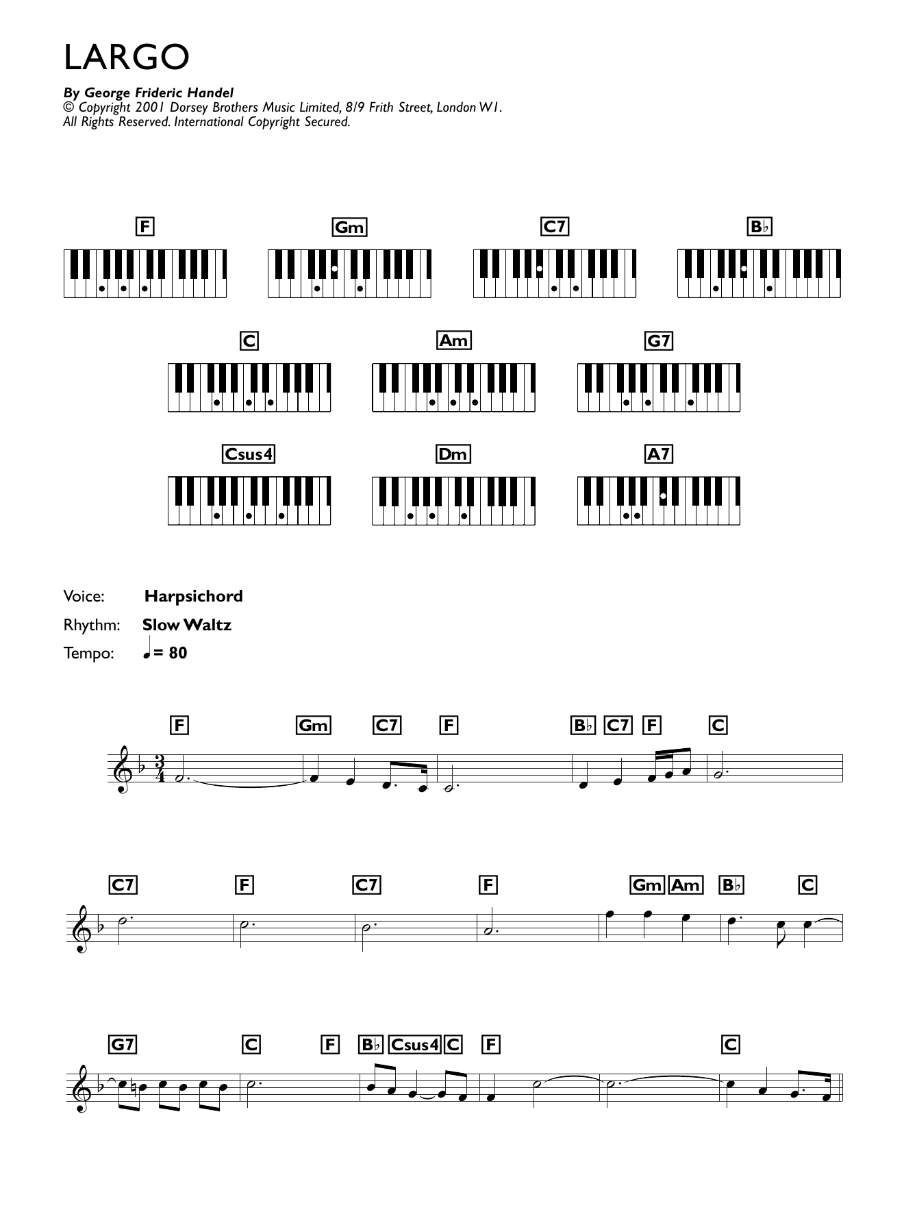 Largo (from Xerxes) (Piano Chords/Lyrics)