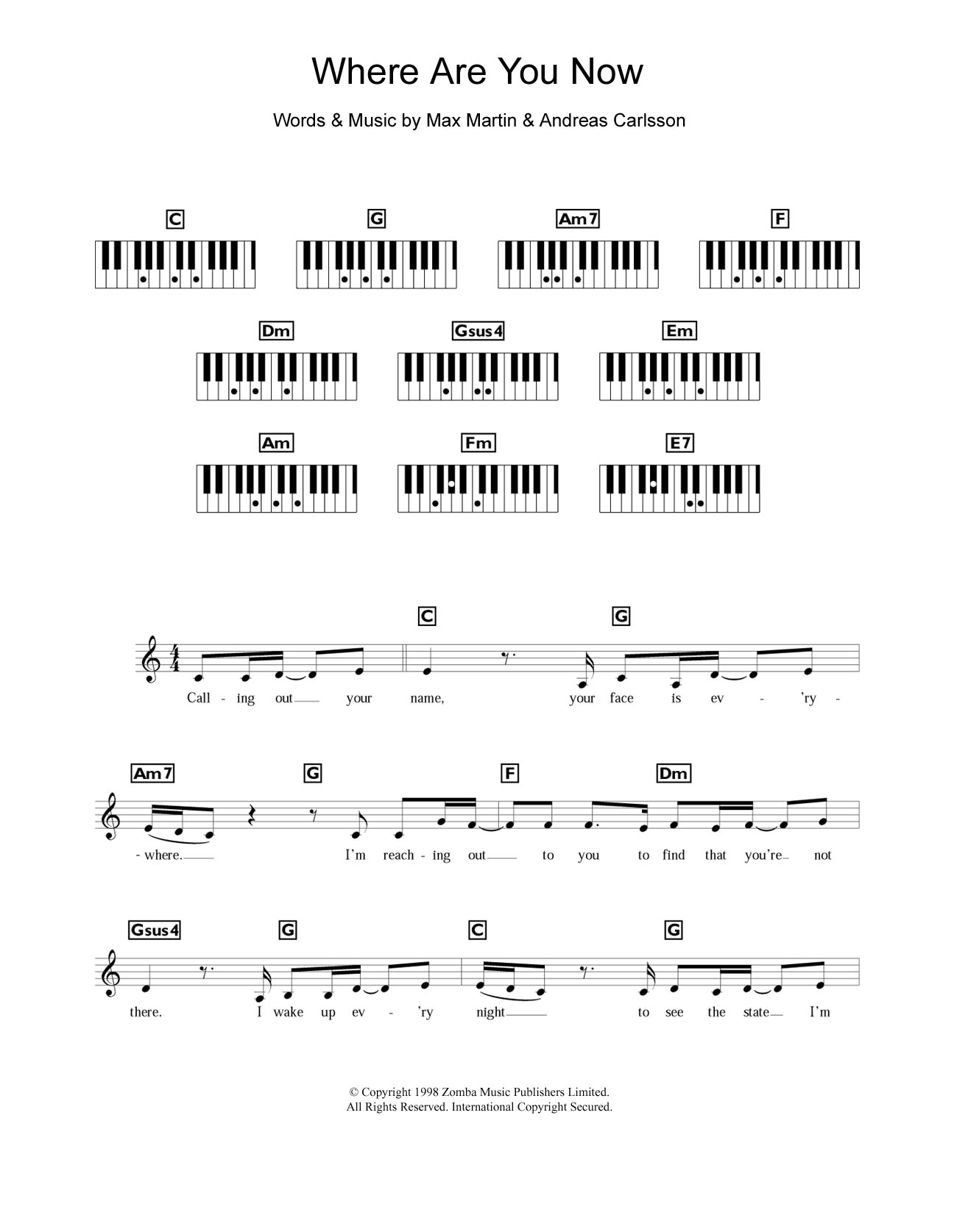 Where Are You Now Sheet Music   Britney Spears   Piano