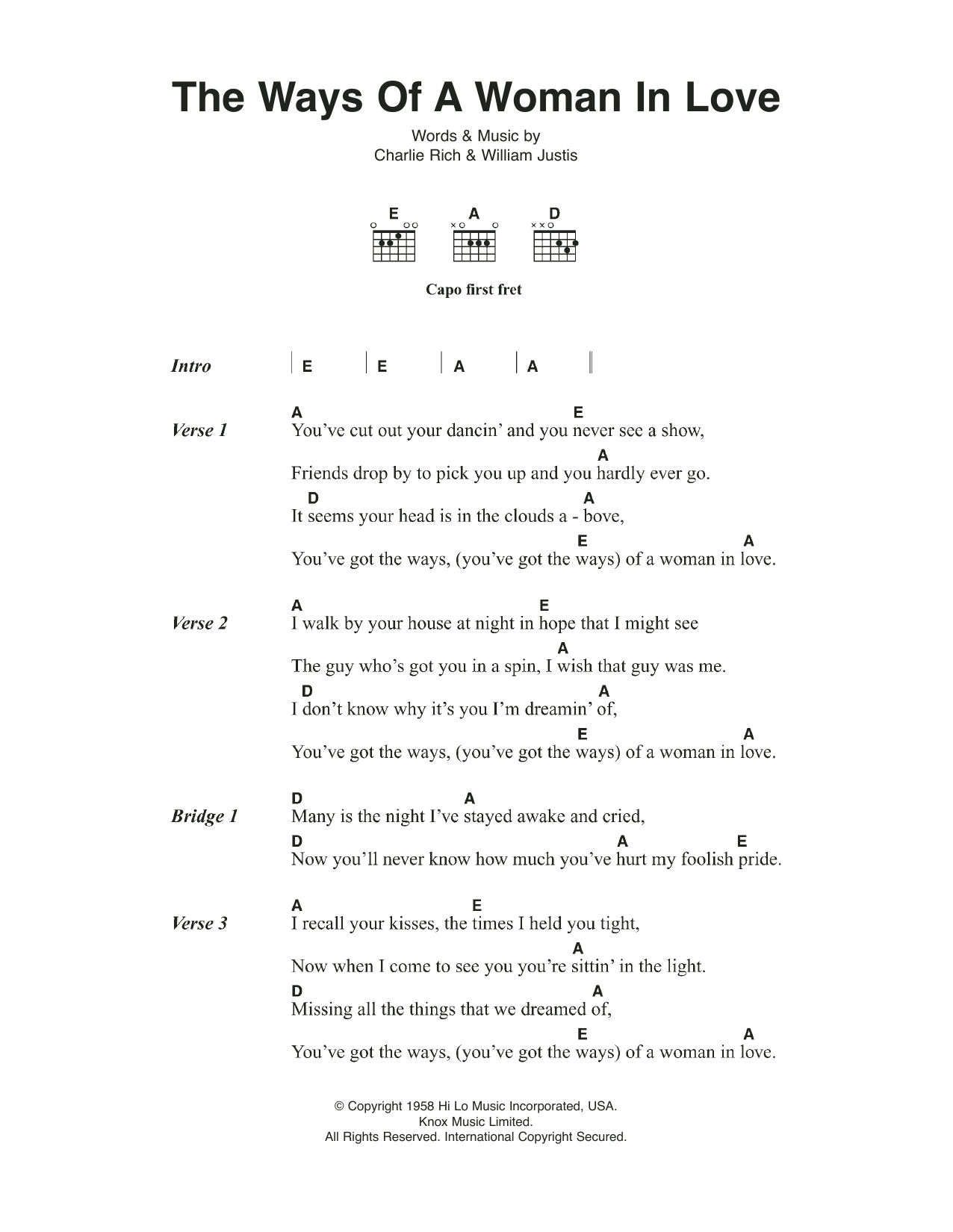 The ways of a woman in love lyrics