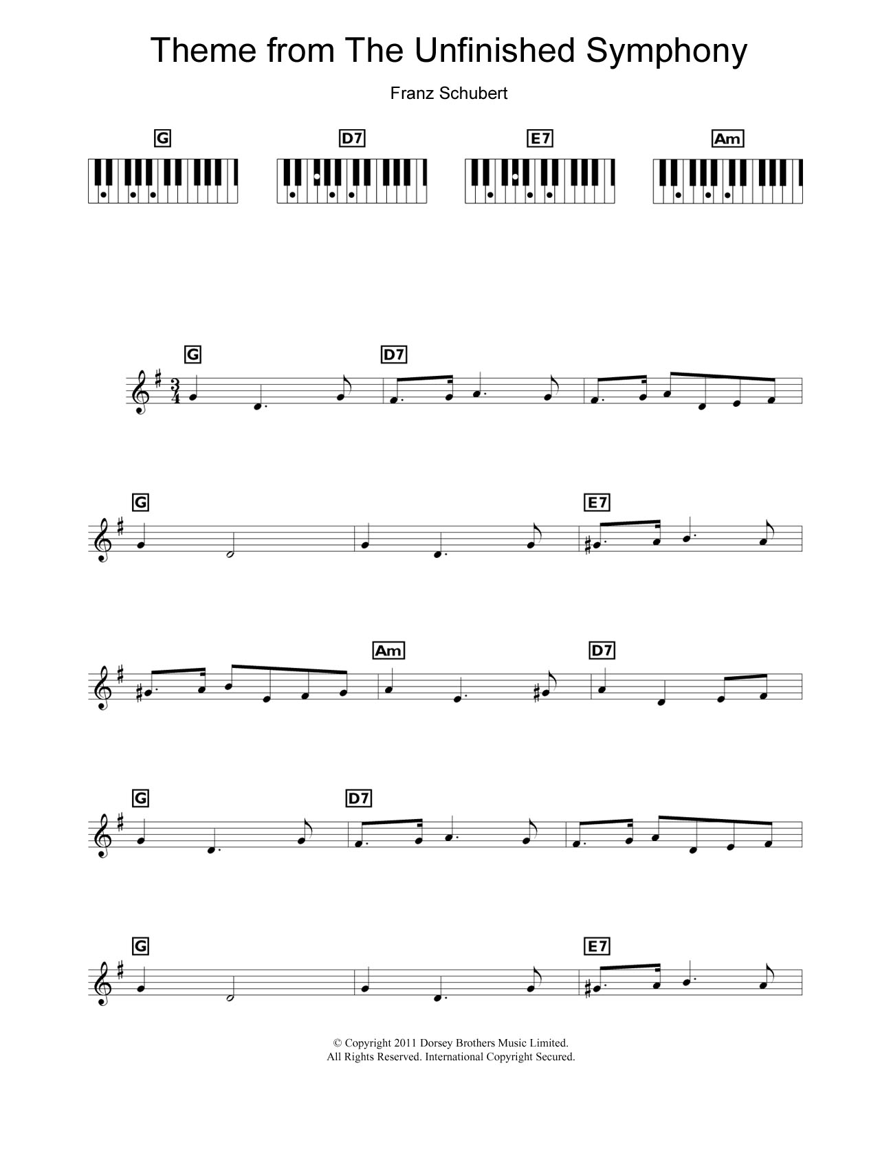 Theme From The Unfinished Symphony | Sheet Music Direct