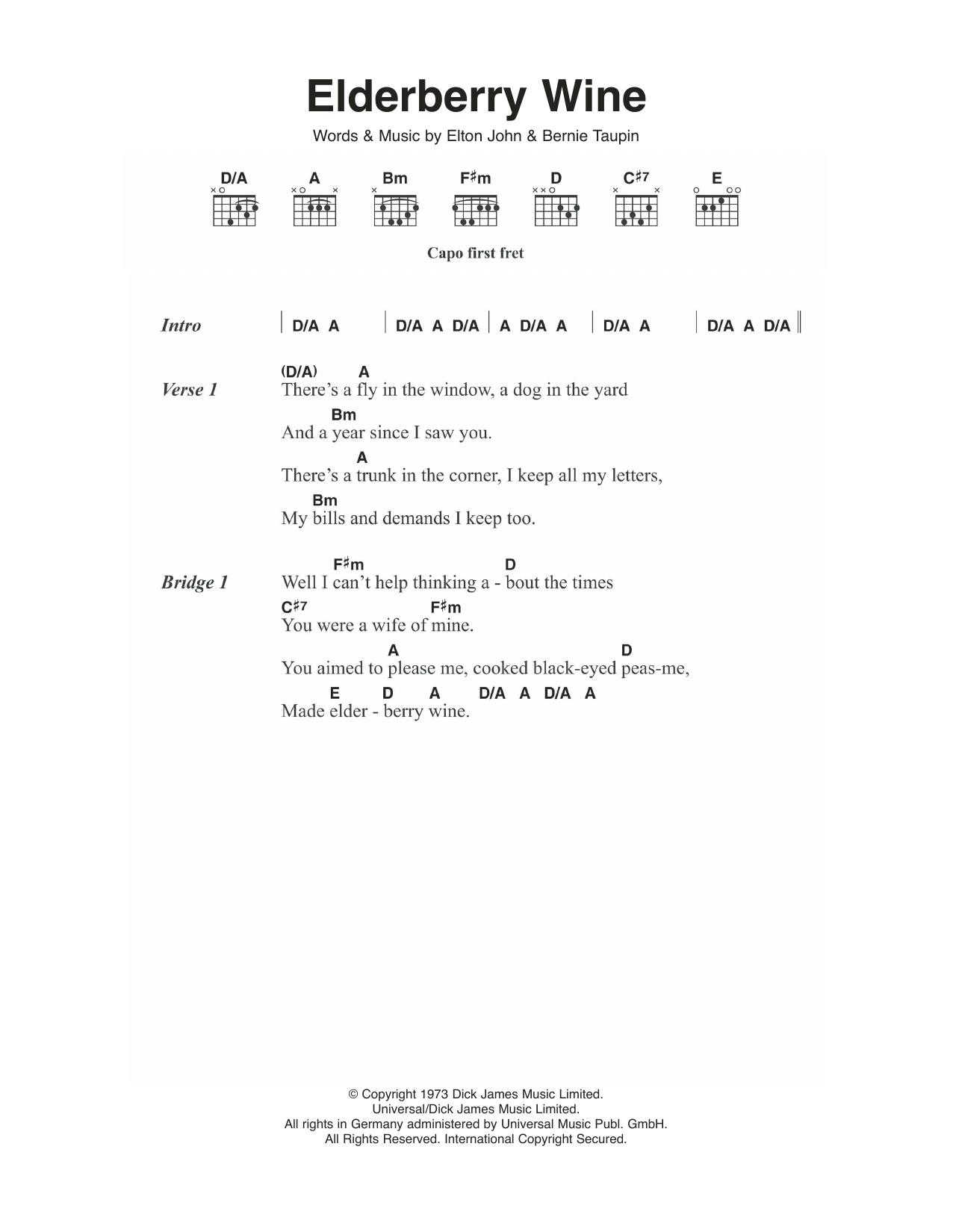 Elderberry Wine Sheet Music