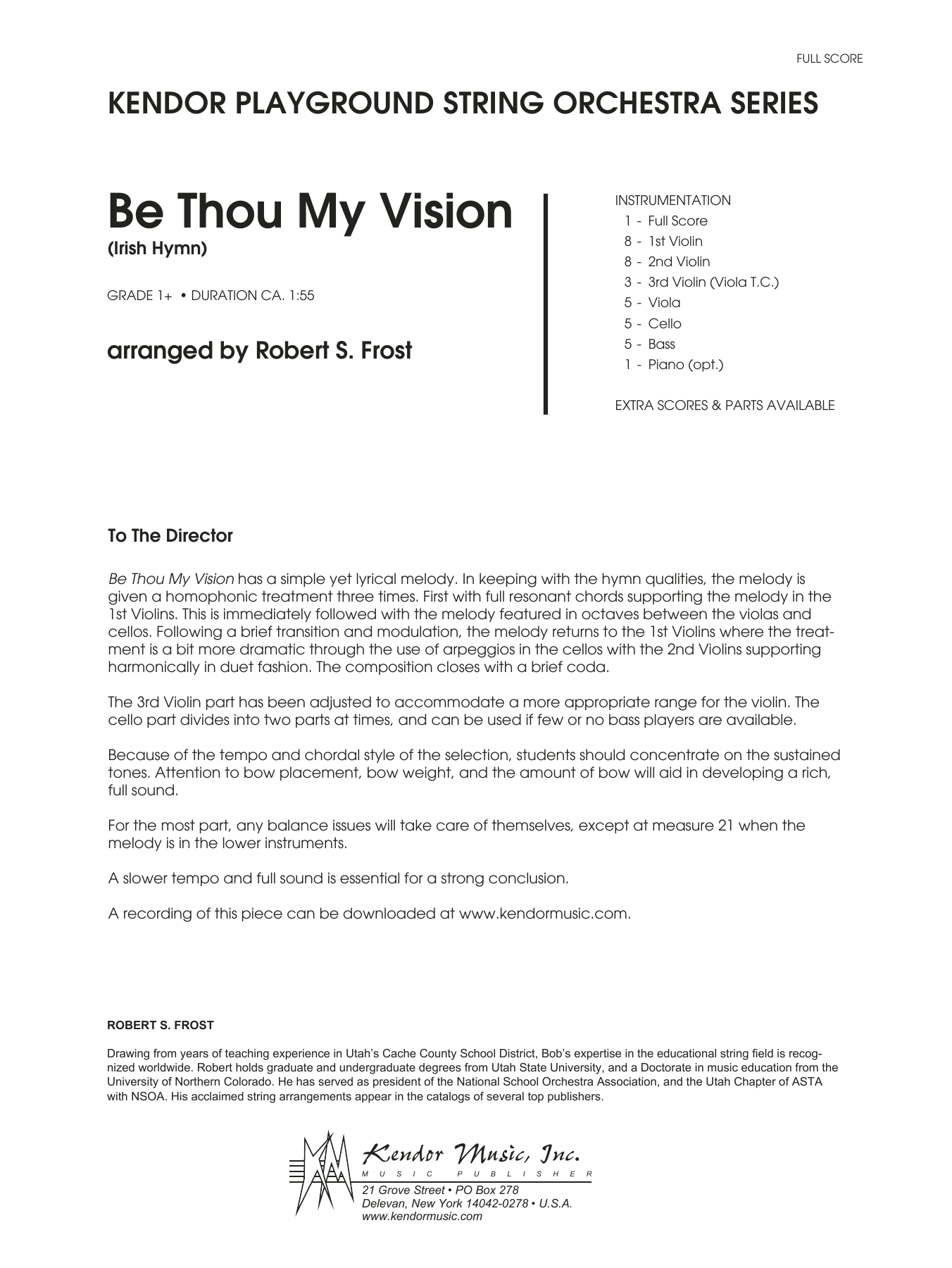 Be Thou My Vision (Irish Hymn) (COMPLETE) sheet music for orchestra  and Robert S. Frost. Score Image Preview.