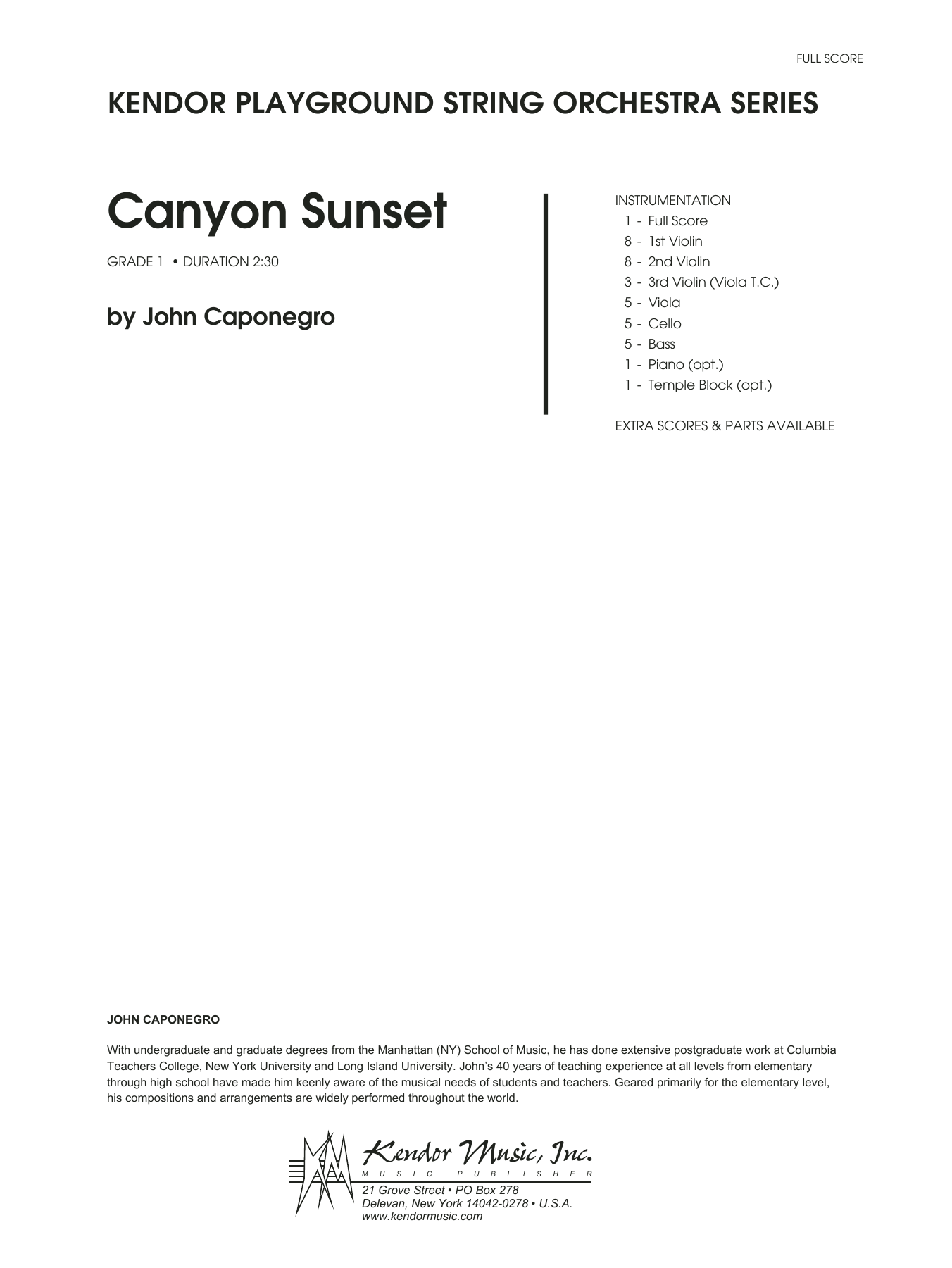 Canyon Sunset (COMPLETE) sheet music for orchestra by John Caponegro. Score Image Preview.