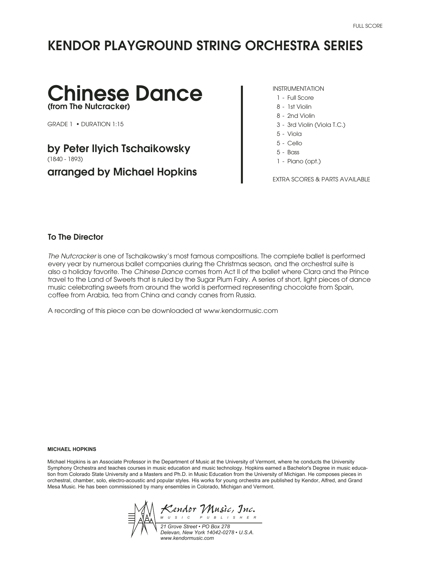 Chinese Dance (from The Nutcracker) (COMPLETE) sheet music for orchestra by Pyotr Ilyich Tchaikovsky and Michael Hopkins. Score Image Preview.