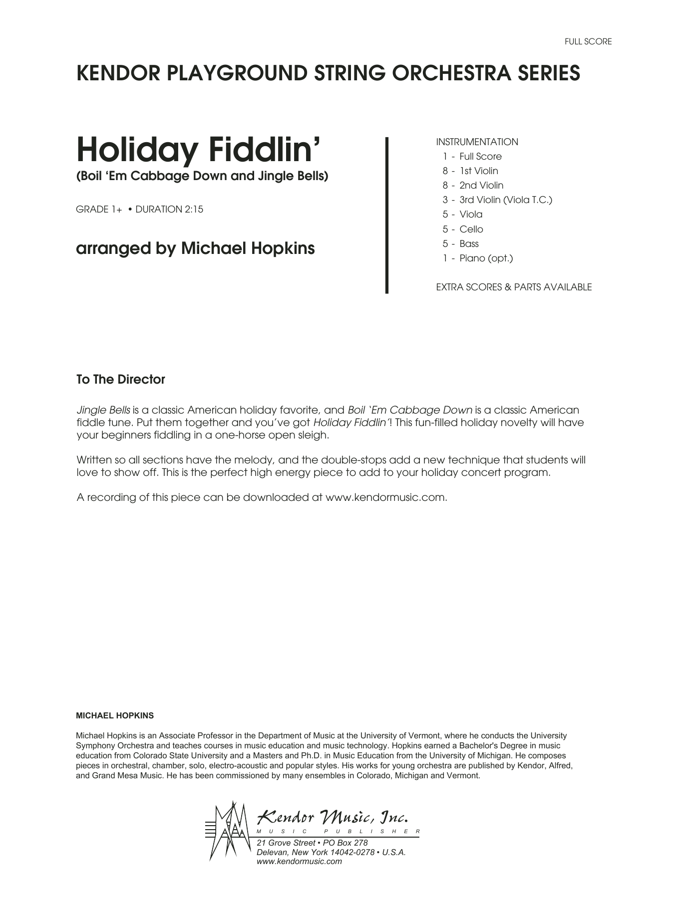 Holiday Fiddlin' (Boil 'Em Cabbage Down and Jingle Bells) (COMPLETE) sheet music for orchestra by Michael Hopkins. Score Image Preview.