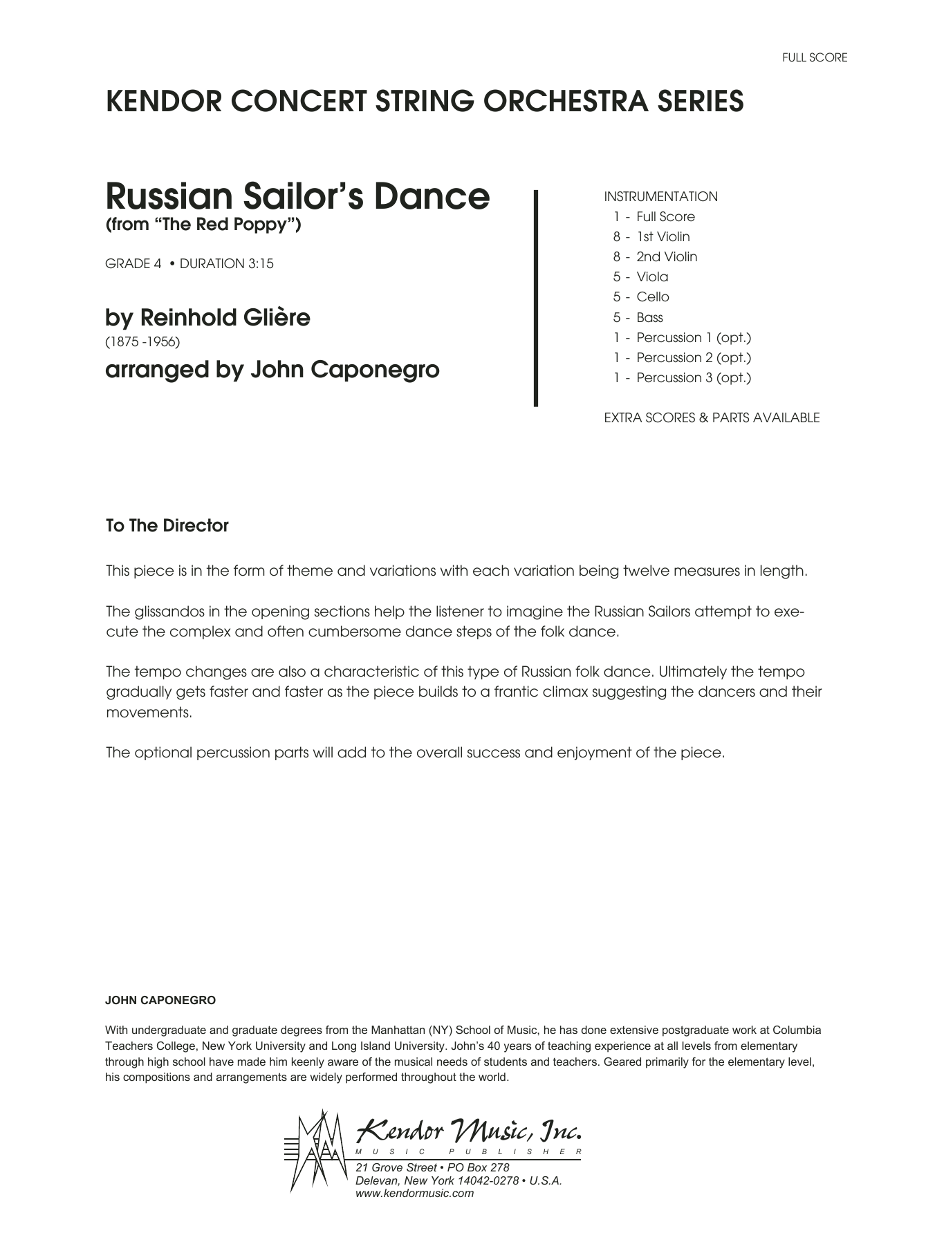 Russian Sailor's Dance (from The Red Poppy) (COMPLETE) sheet music for orchestra by Gliere and John Caponegro. Score Image Preview.