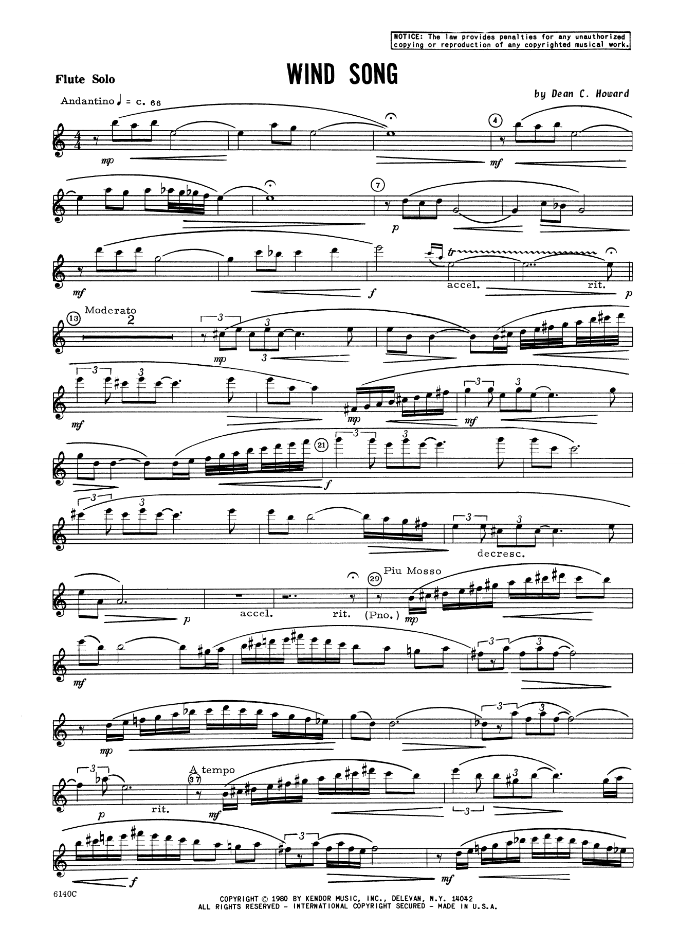 Wind Song (complete set of parts) sheet music for flute and piano by Howard. Score Image Preview.