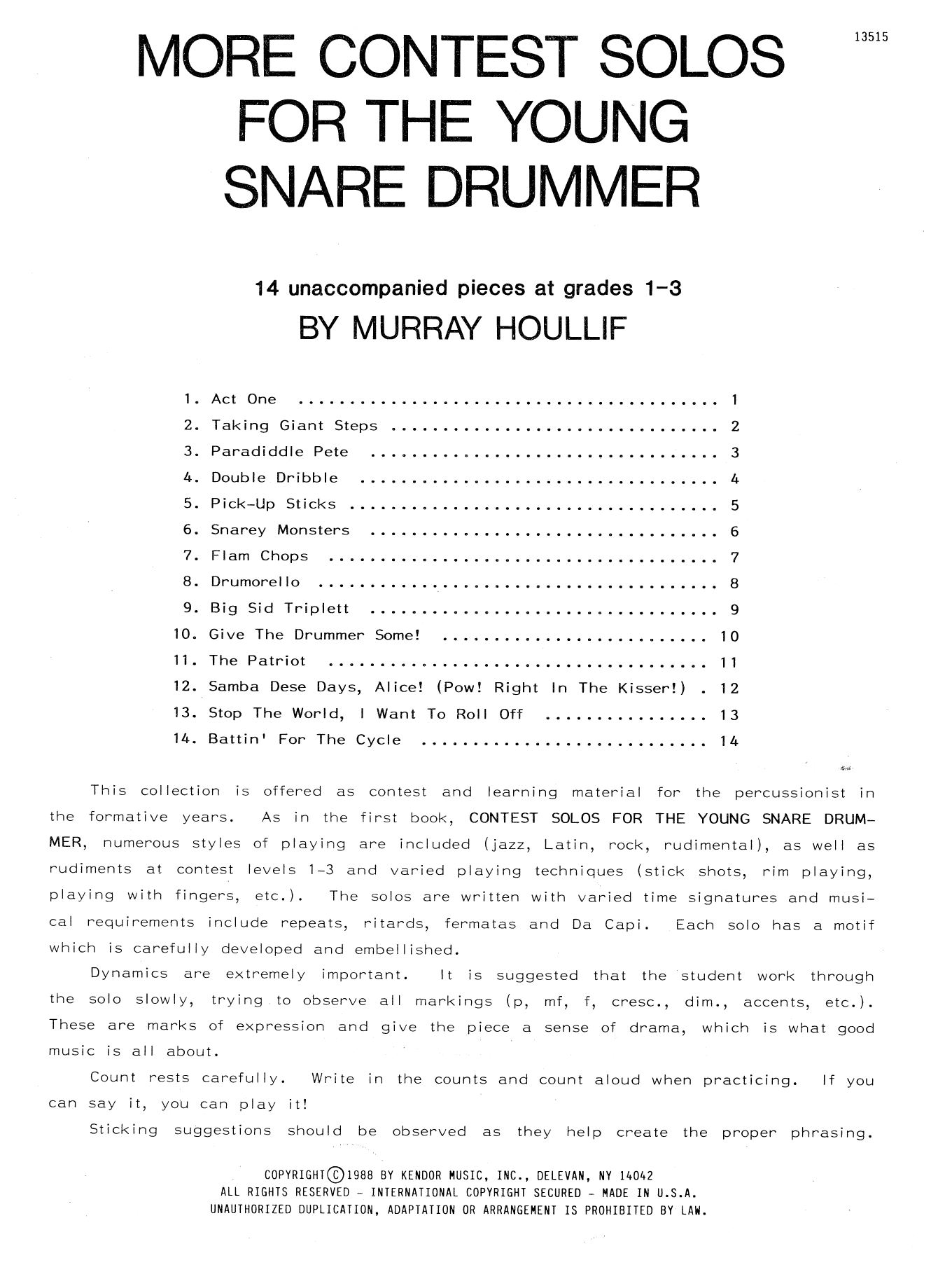 More Contest Solos For The Young Snare Drummer Sheet Music