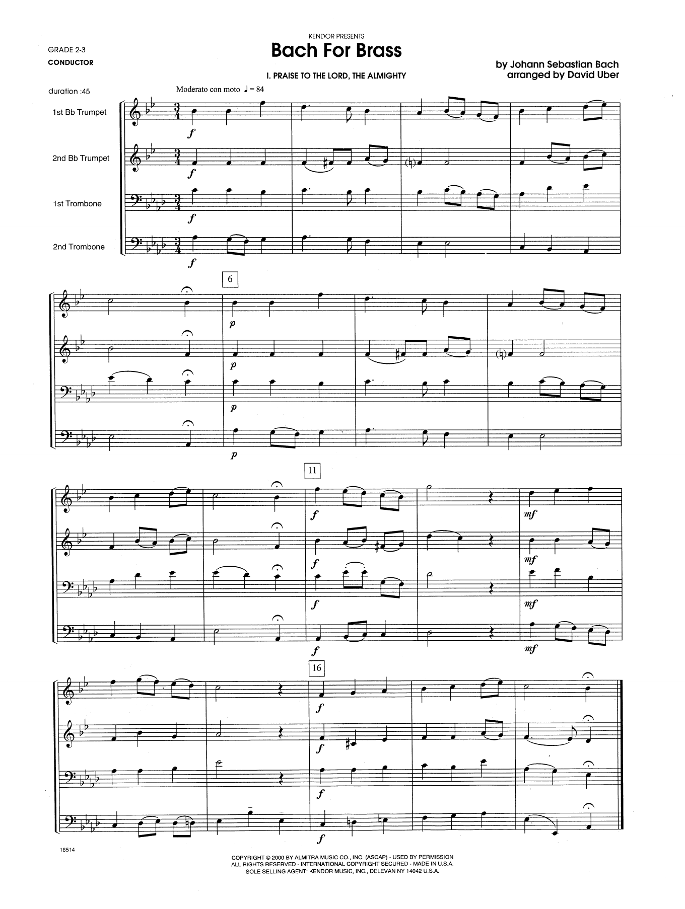 Bach For Brass (COMPLETE) sheet music for brass quartet by Johann Sebastian Bach and David Uber. Score Image Preview.