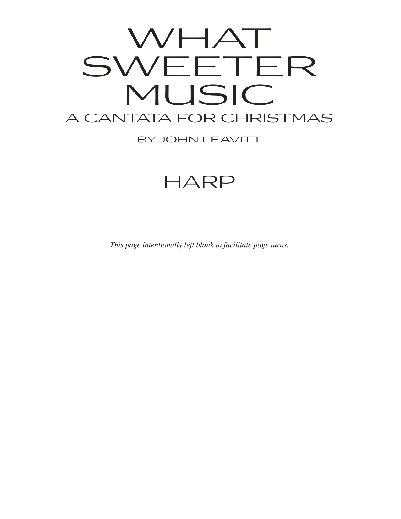 What Sweeter Music (A Cantata For Christmas) - Harp Sheet Music