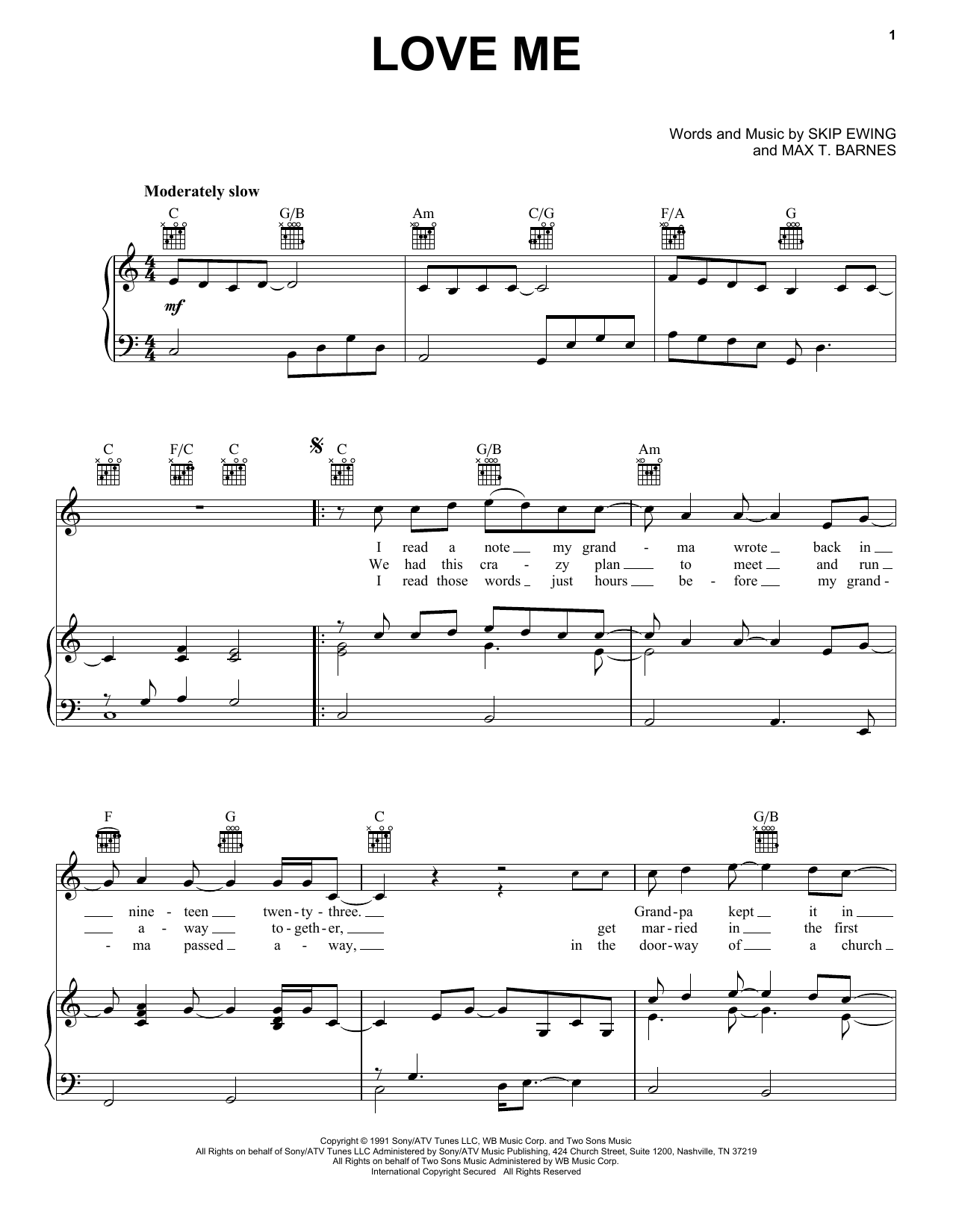 Love Me (Piano, Vocal & Guitar (Right-Hand Melody))
