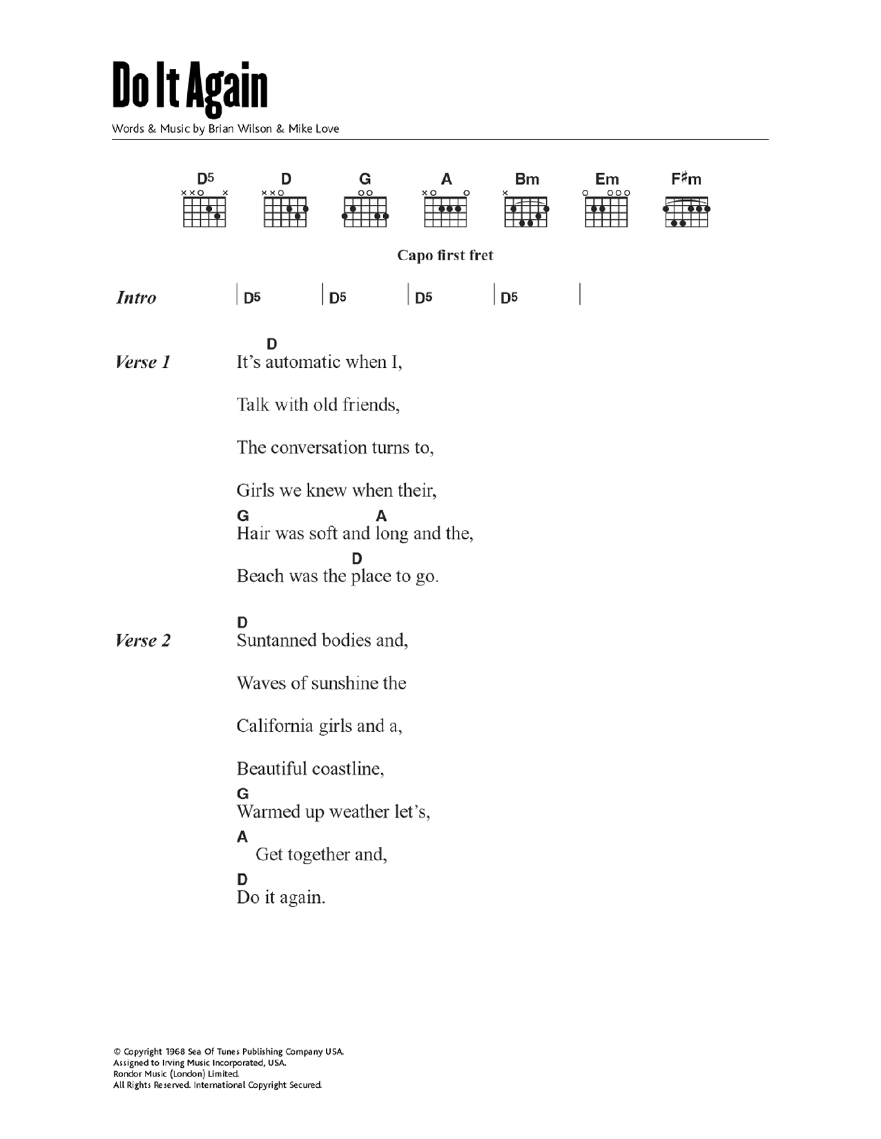 Do It Again by The Beach Boys Piano, Vocal & Guitar Right Hand Melody  Digital Sheet Music