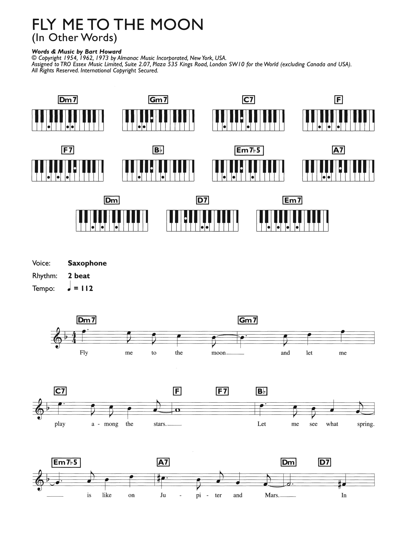 Fly Me To The Moon (In Other Words) by Julie London Keyboard (Abridged)  Digital Sheet Music