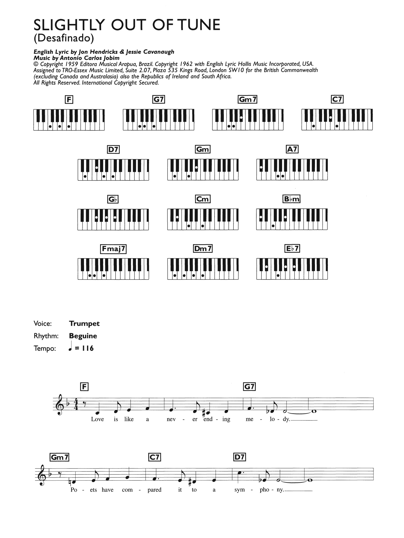 Desafinado (Slightly Out Of Tune) (Piano Chords/Lyrics)
