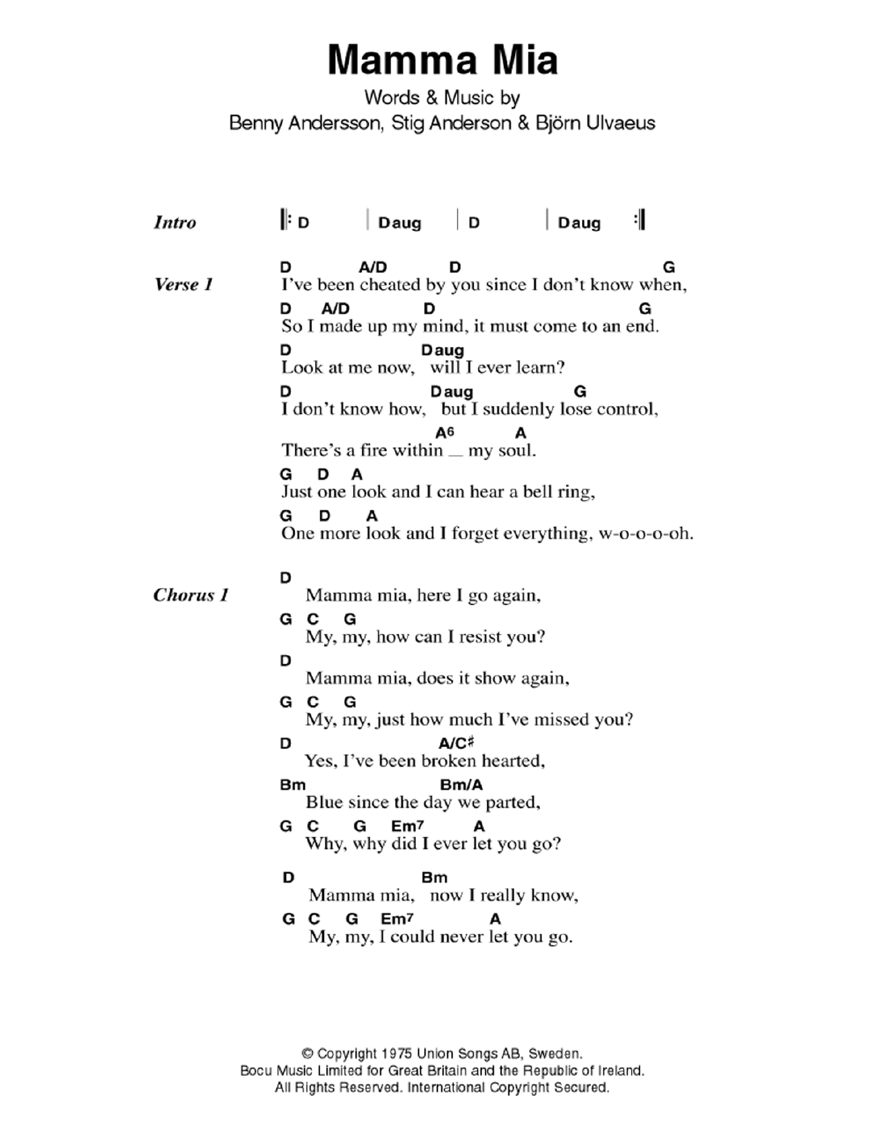 Mamma mia by abba guitar chordslyrics guitar instructor the most accurate tab hexwebz Gallery