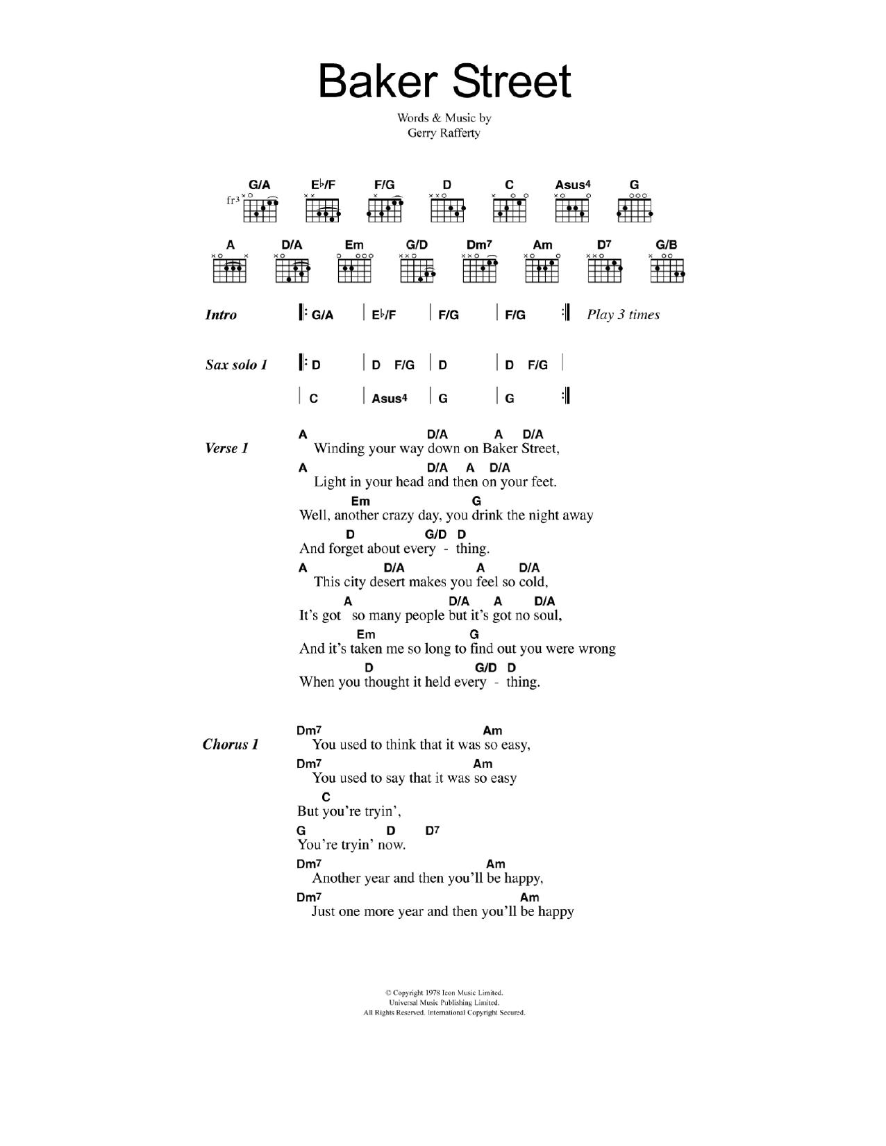 Baker Street Gerry Rafferty Lyrics Chords