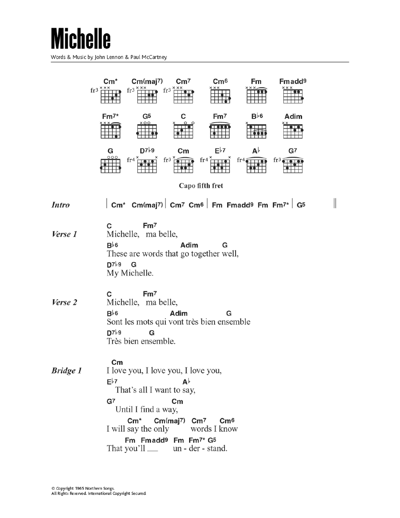 Michelle Sheet Music The Beatles Lyrics Chords