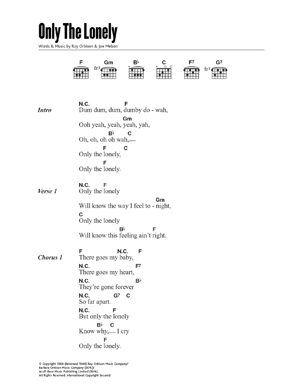 Only The Lonely Guitar Chords