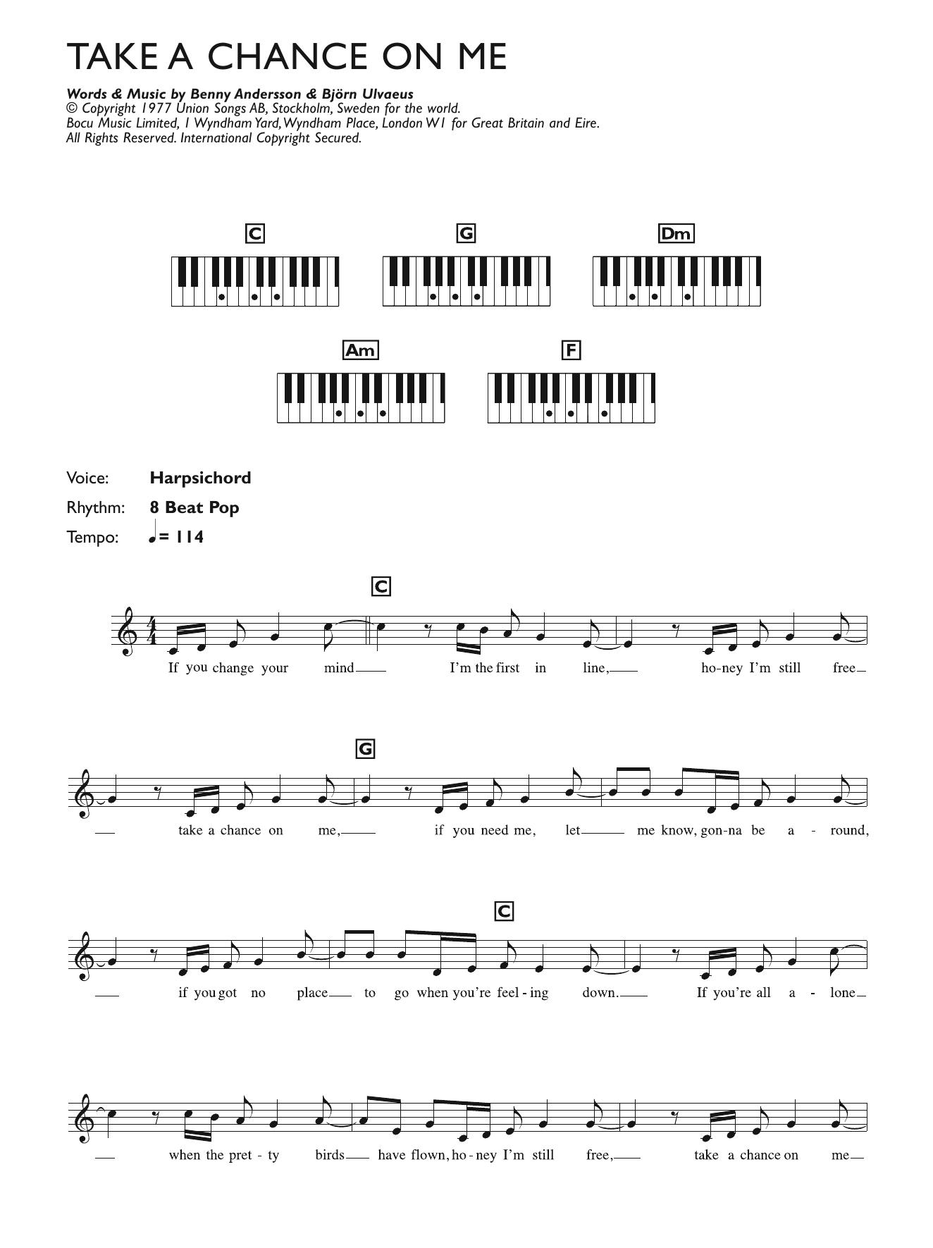 Take A Chance On Me Sheet Music