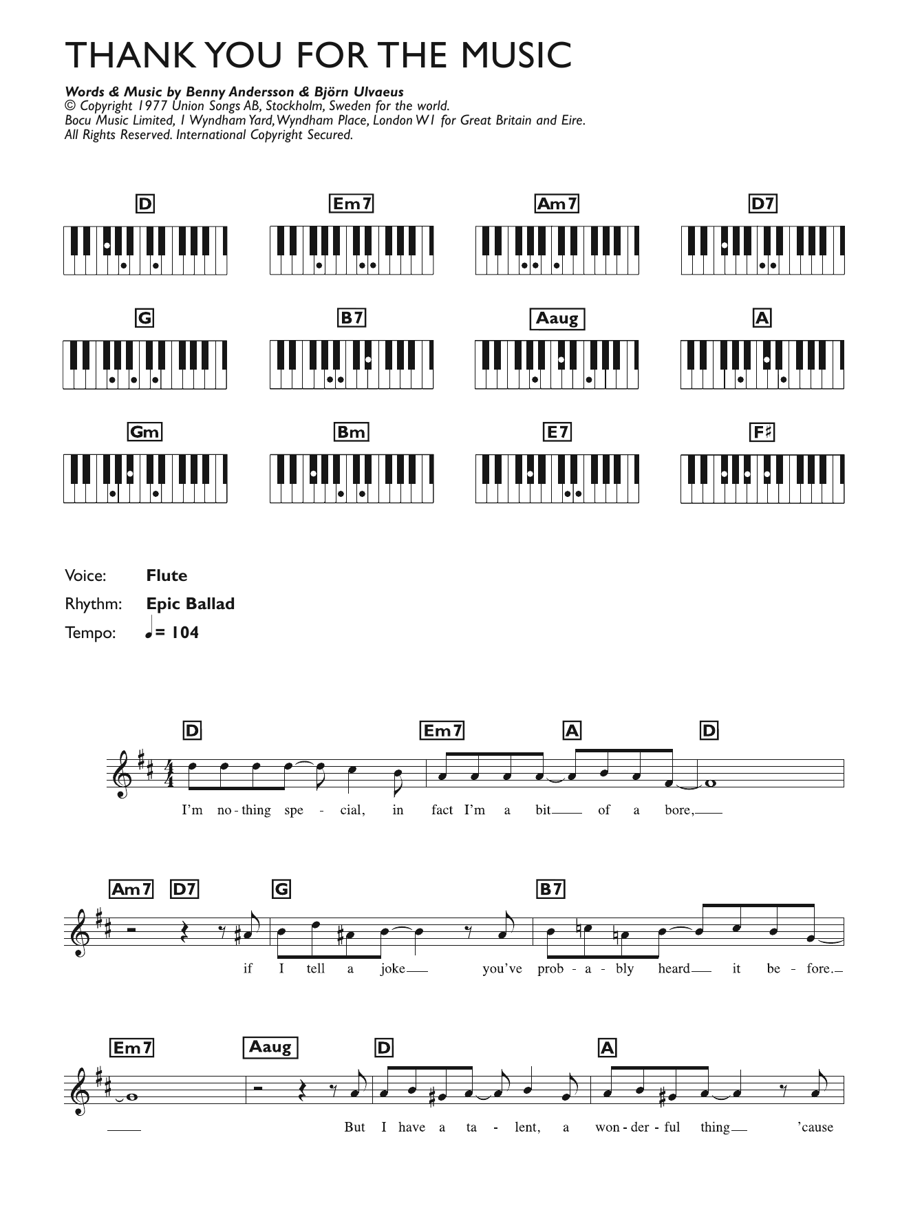 Thank You For The Music (Piano Chords/Lyrics)