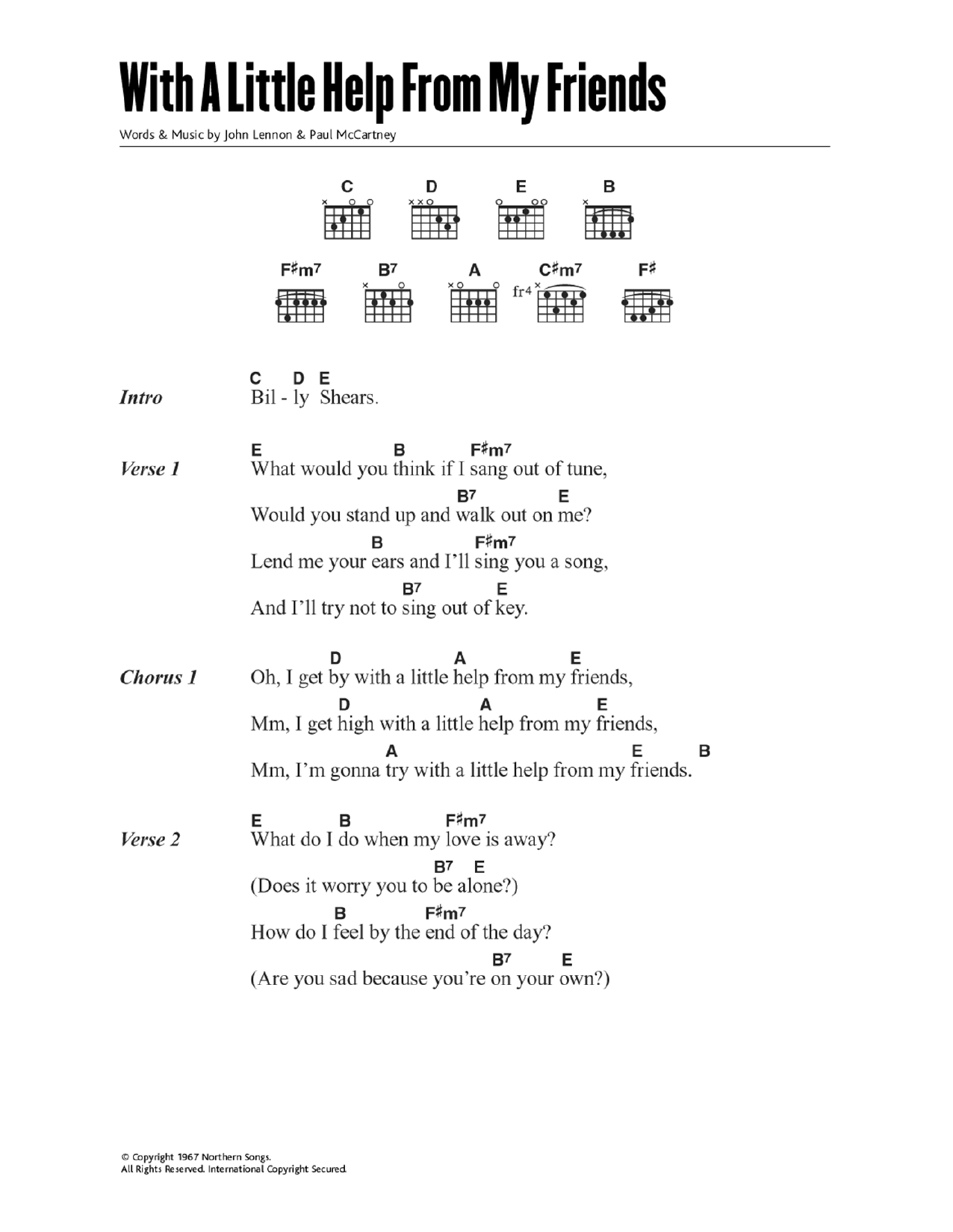 With a little help from my friends by the beatles guitar chords the most accurate tab hexwebz Choice Image