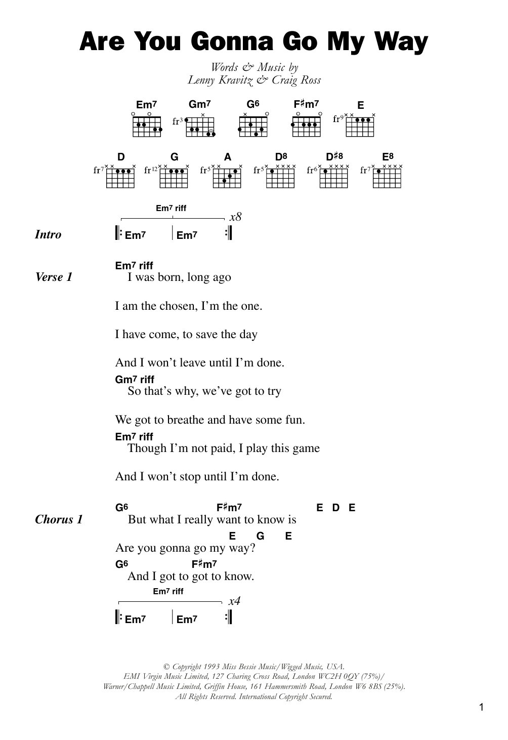 Are You Gonna Go My Way Sheet Music