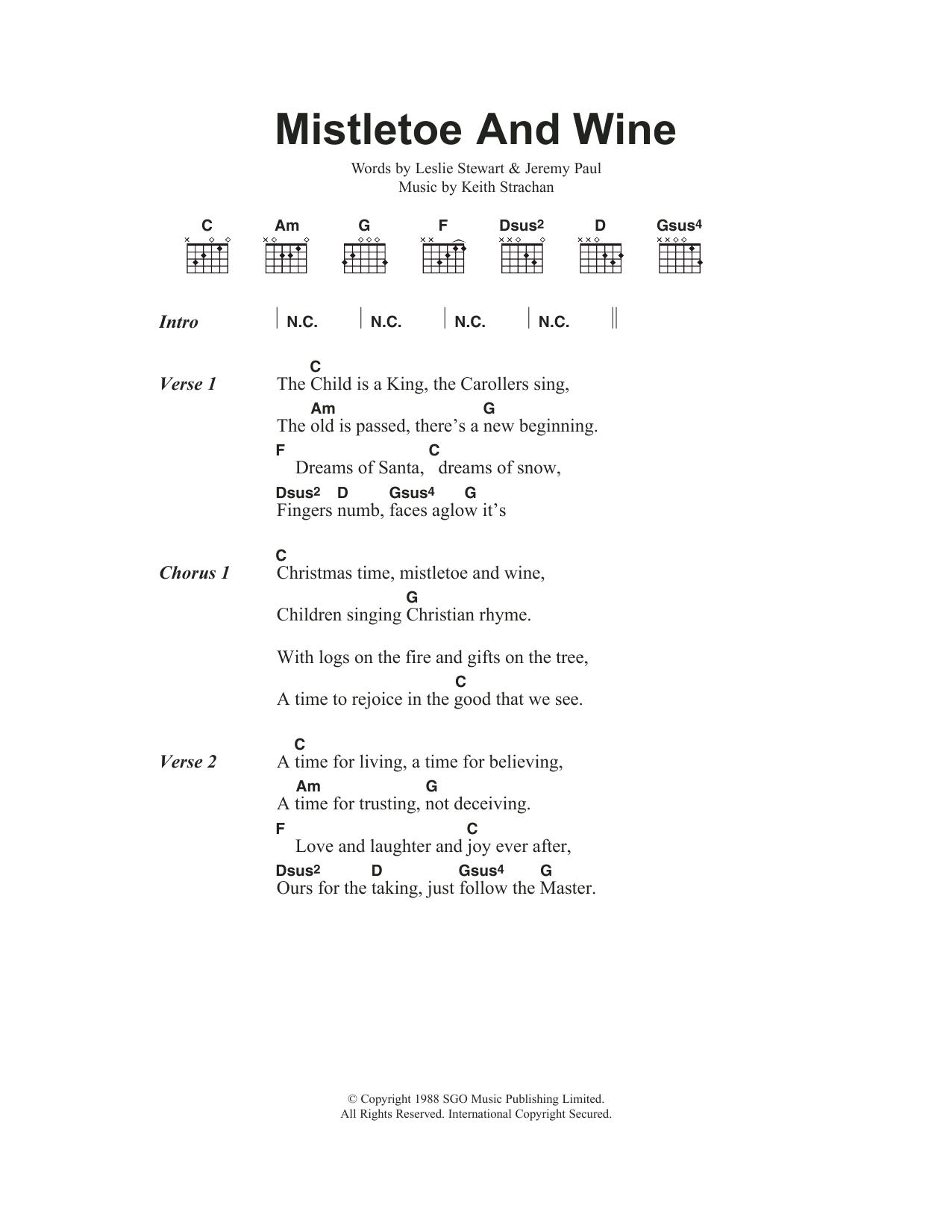Mistletoe And Wine Sheet Music Cliff Richard Lyrics Chords