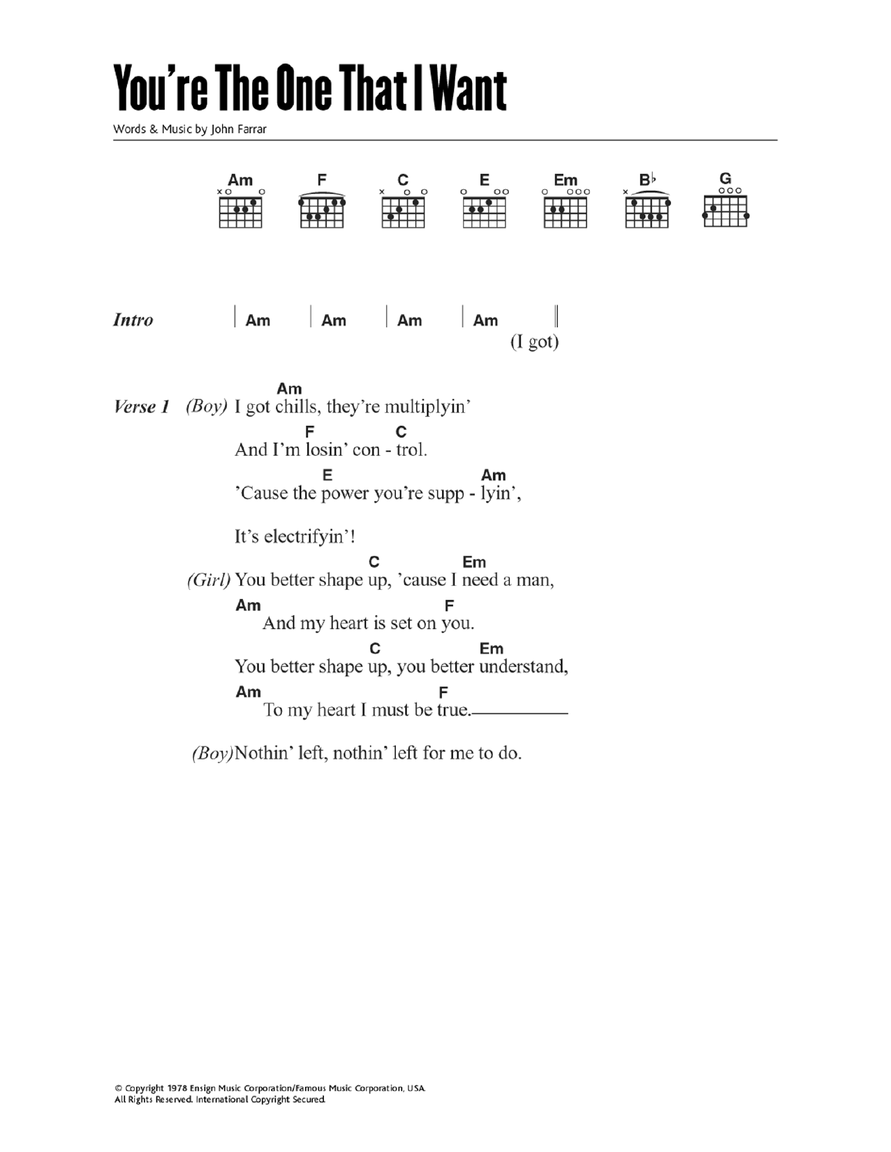 You're The One That I Want (from Grease) Sheet Music