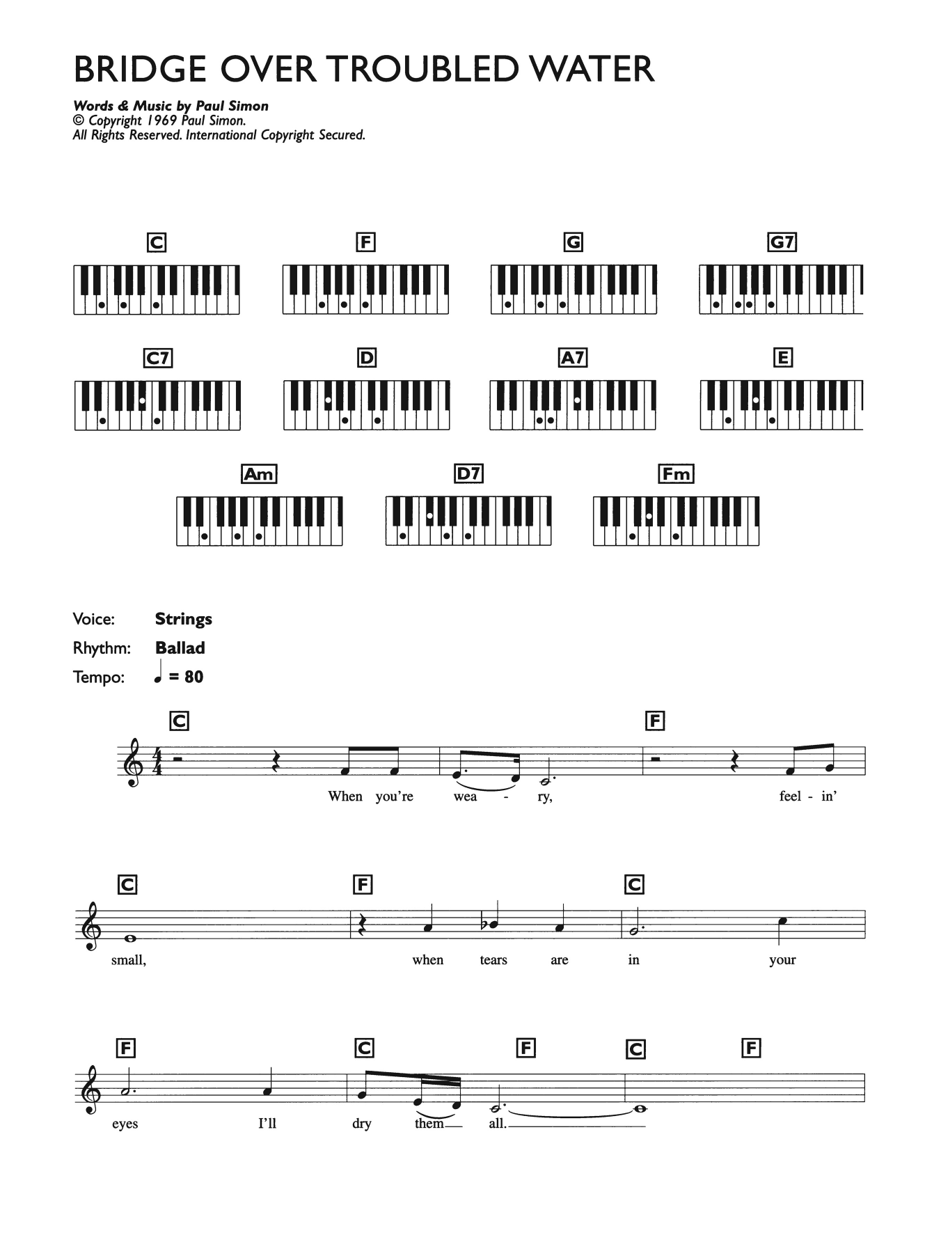 Bridge Over Troubled Water (Piano Chords/Lyrics)