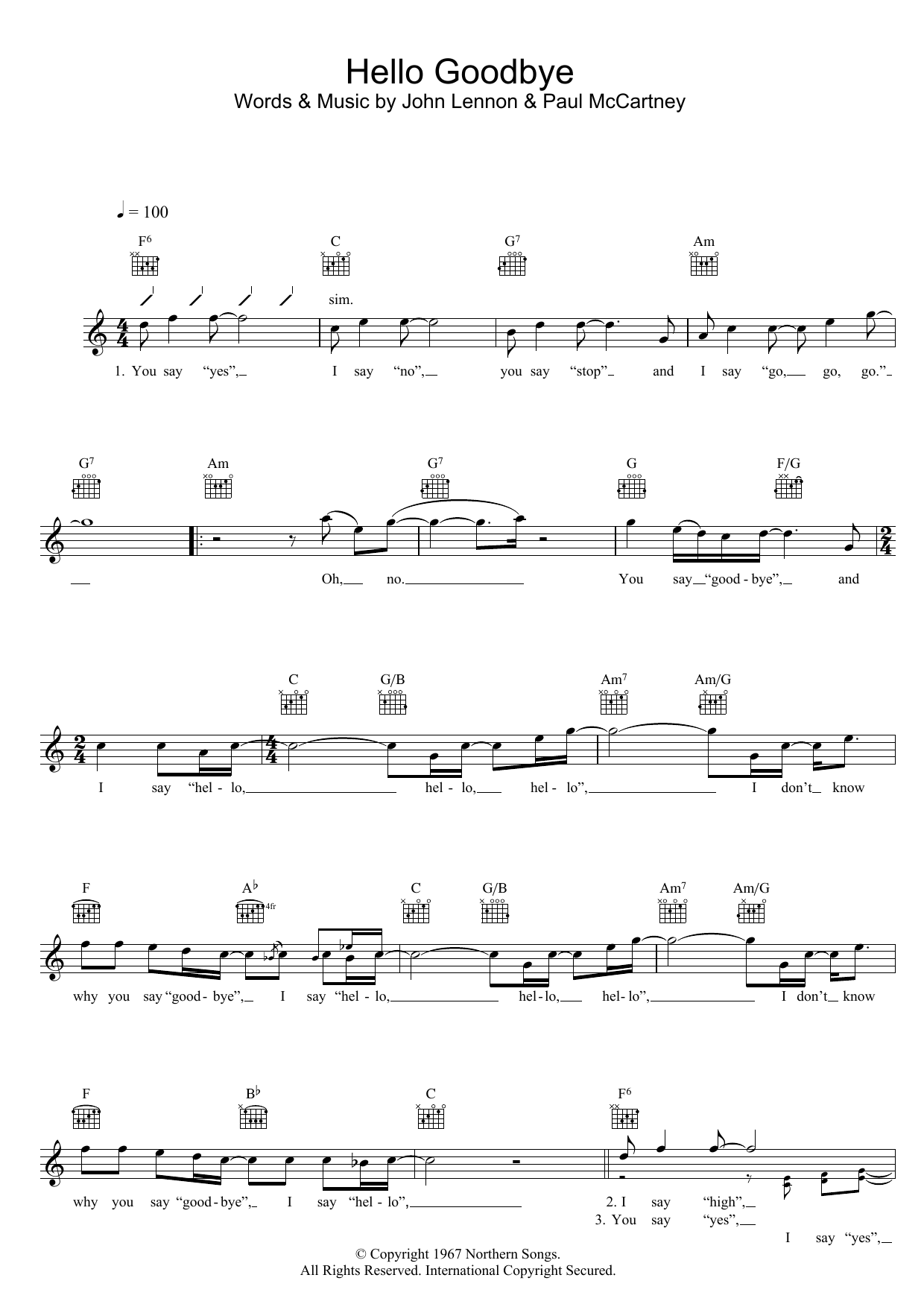 Hello Goodbye Sheet Music
