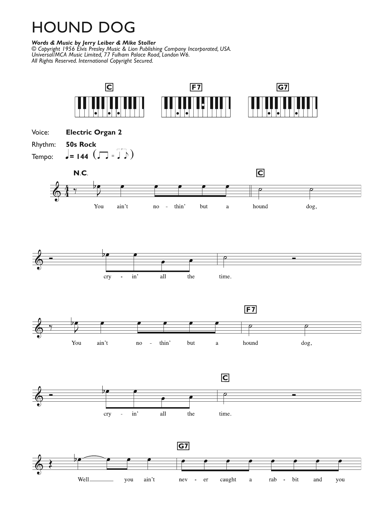 Hound Dog Sheet Music