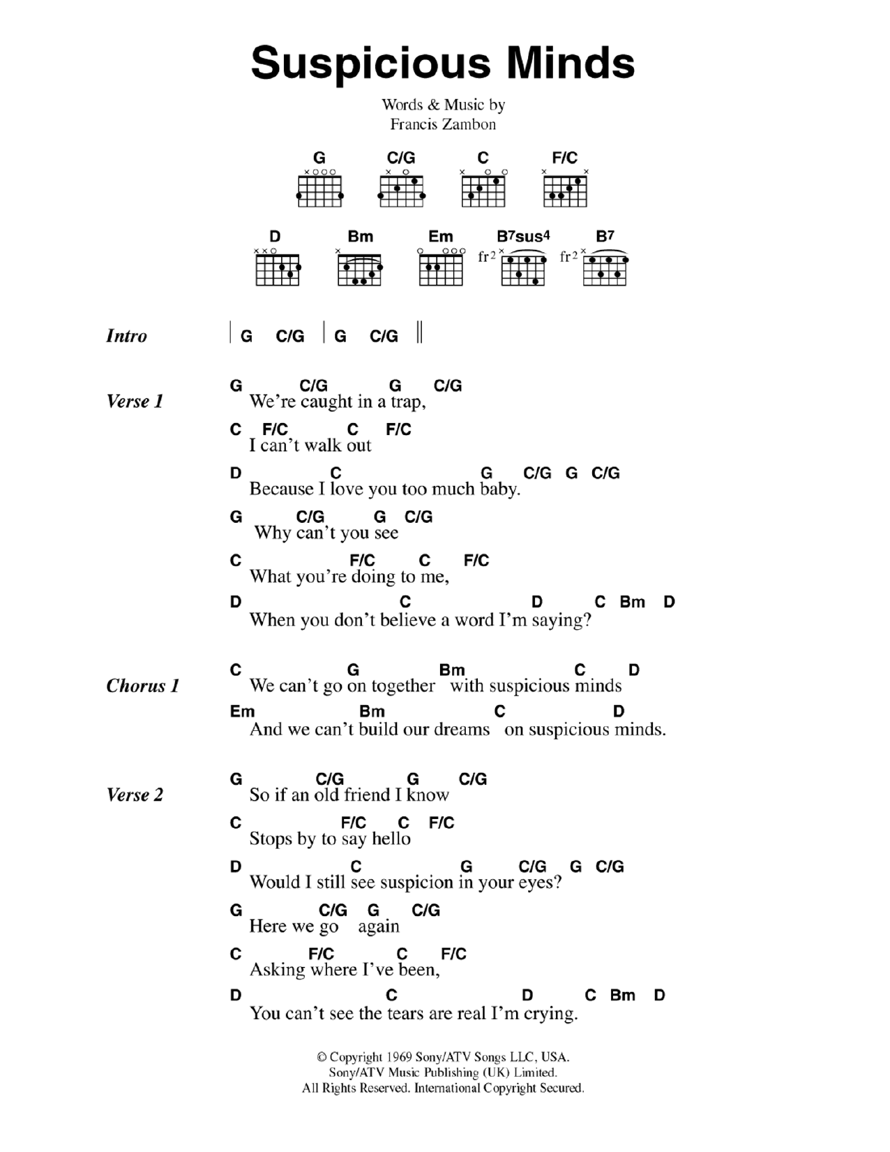 Suspicious Minds Guitar Chords