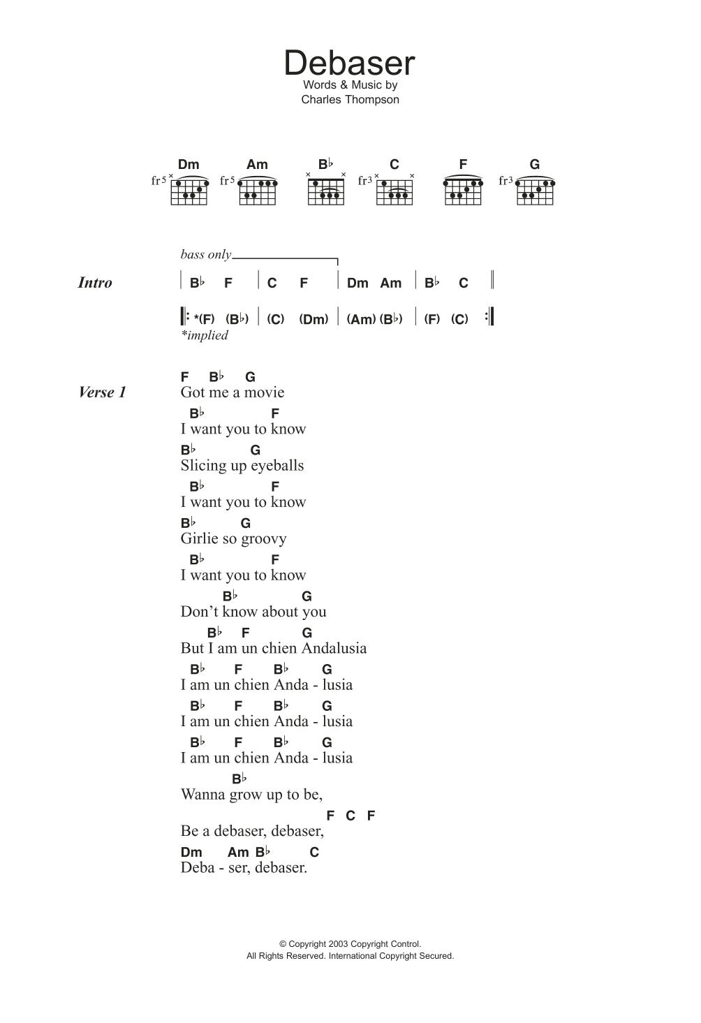Debaser Sheet Music
