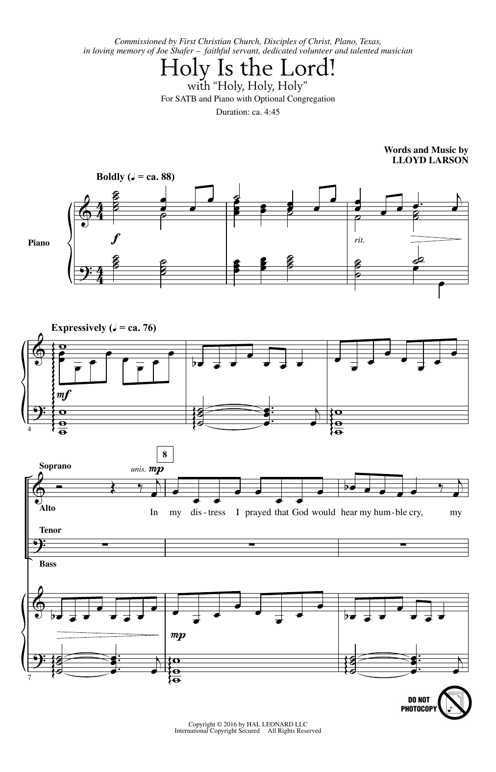 """Holy Is The Lord! (With """"Holy, Holy, Holy"""") (SATB Choir)"""