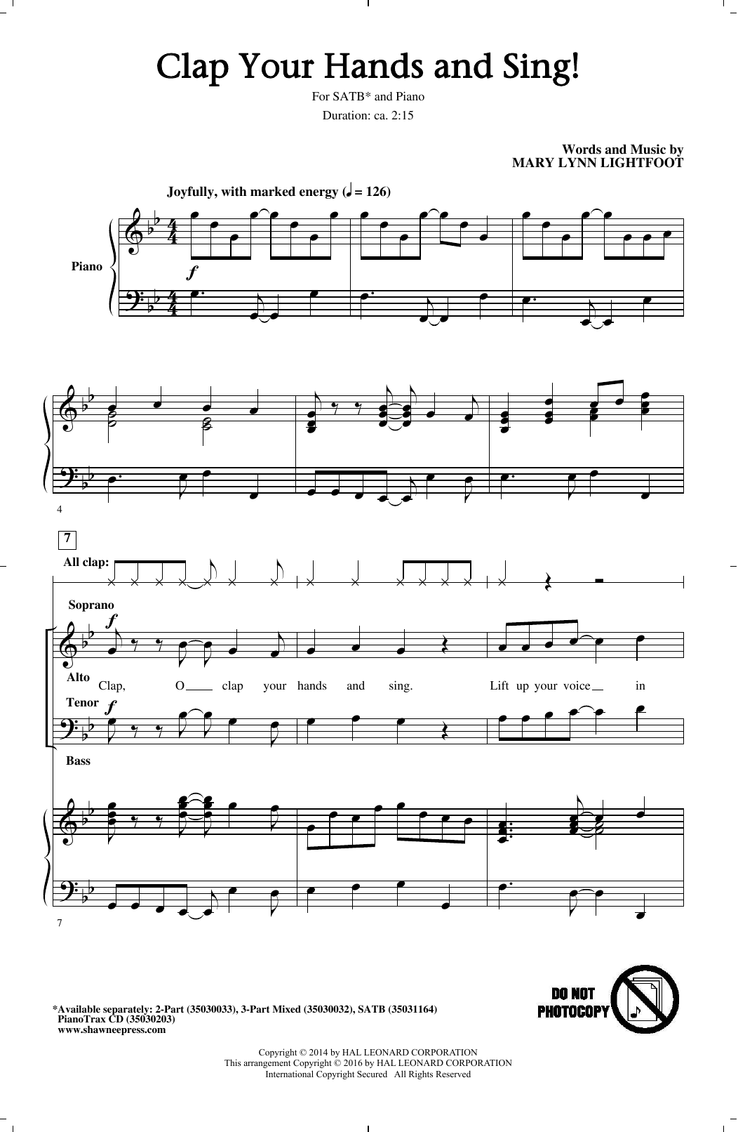 Partition chorale Clap Your Hands And Sing! de Mary Lynn Lightfoot - SATB