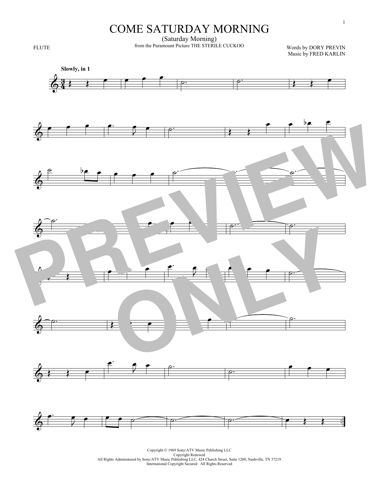 Come Saturday Morning (Saturday Morning) (Flute Solo)