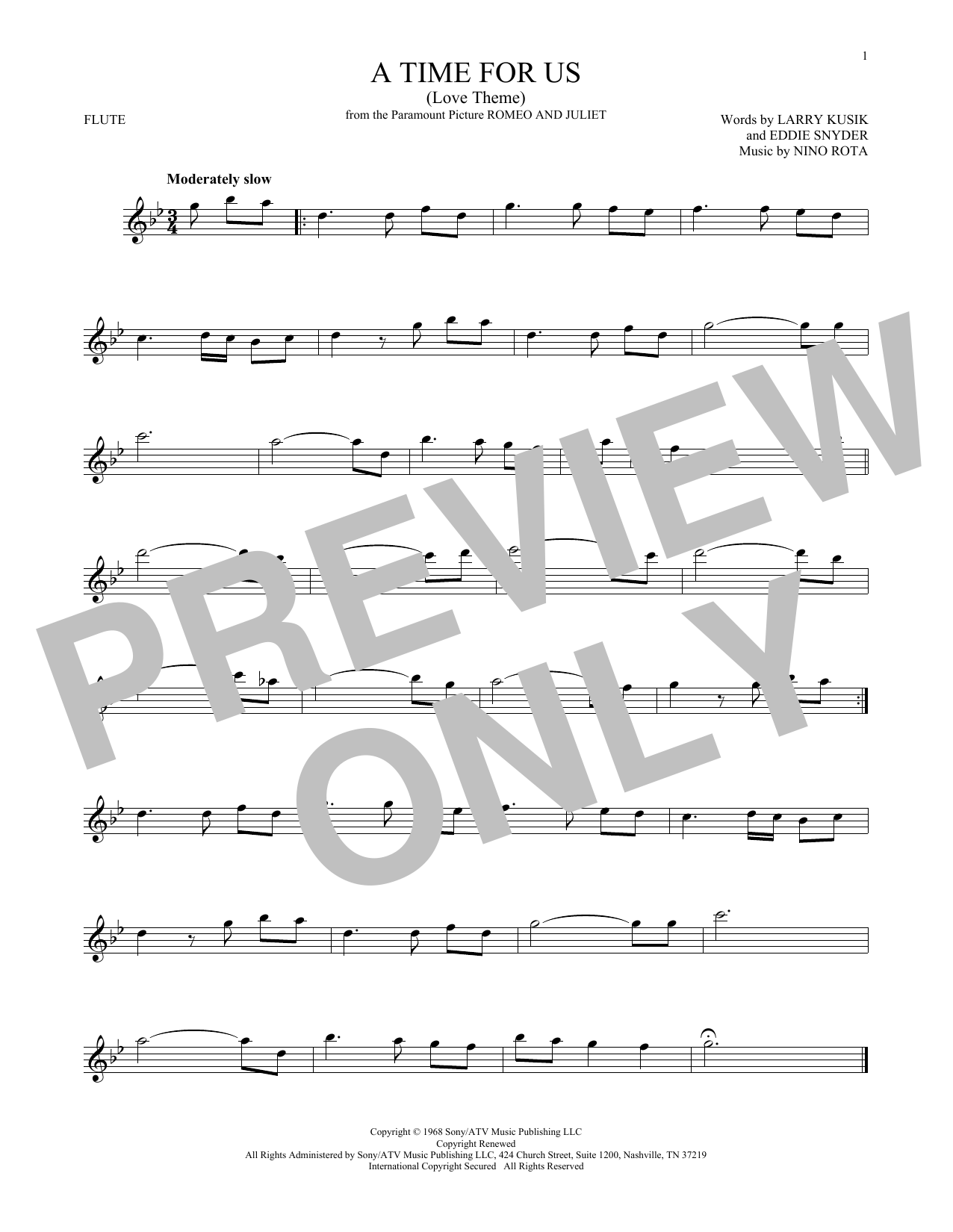 A Time For Us (Love Theme) (Flute Solo)