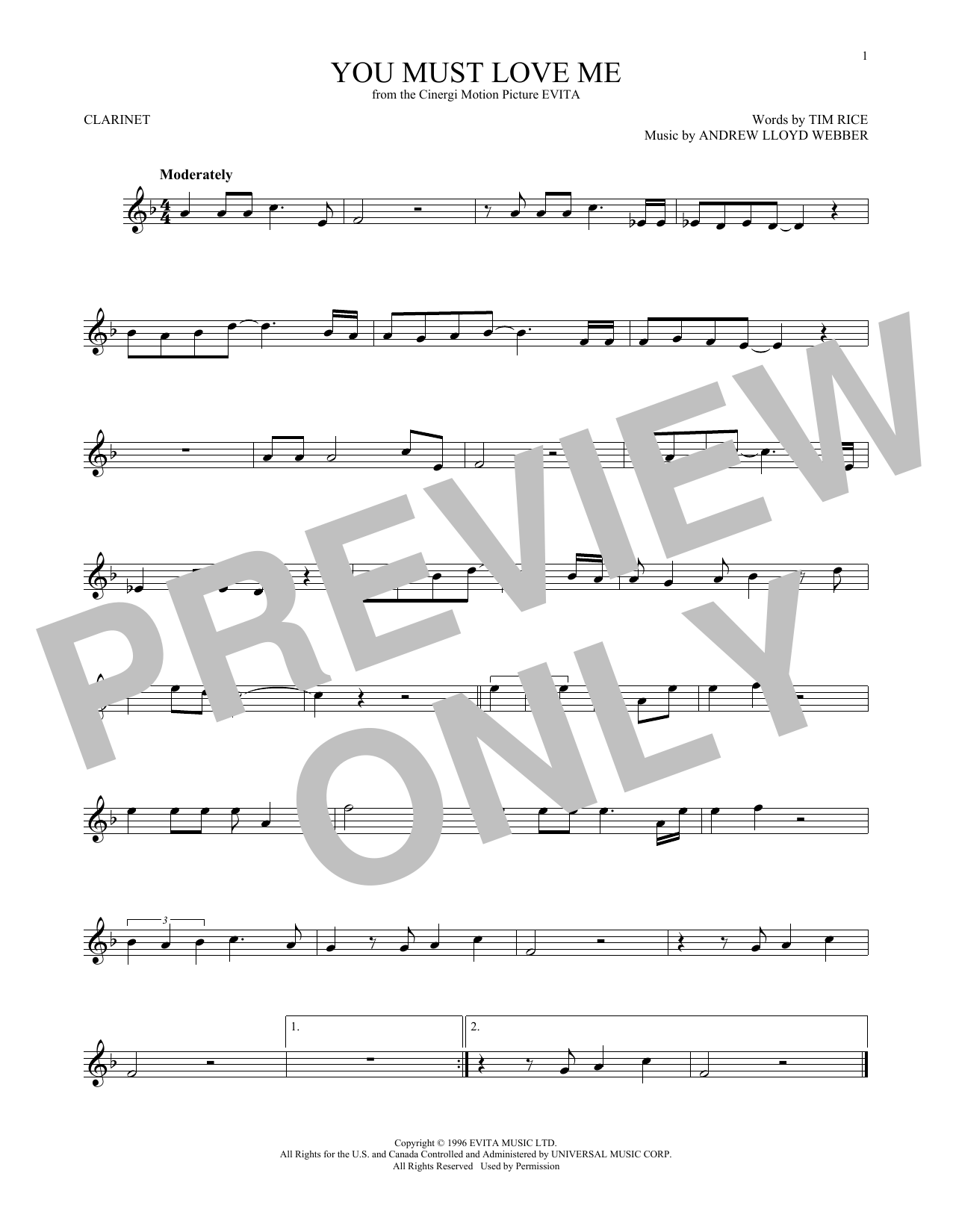 You Must Love Me (from Evita) (Clarinet Solo)