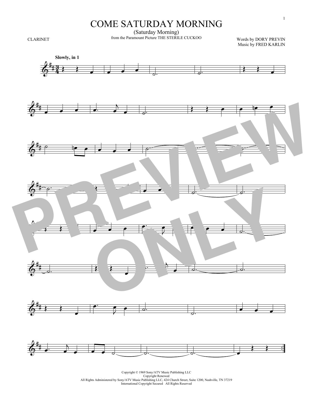 Come Saturday Morning (Saturday Morning) (Clarinet Solo)