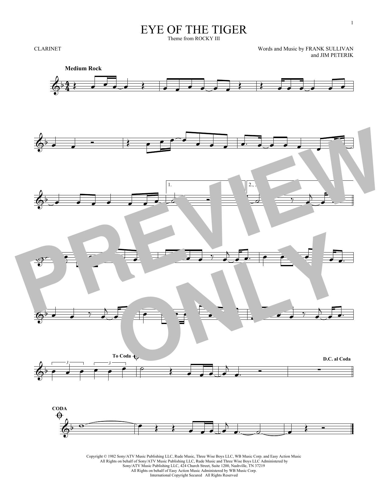 Partition clarinette Eye Of The Tiger de Survivor - Clarinette