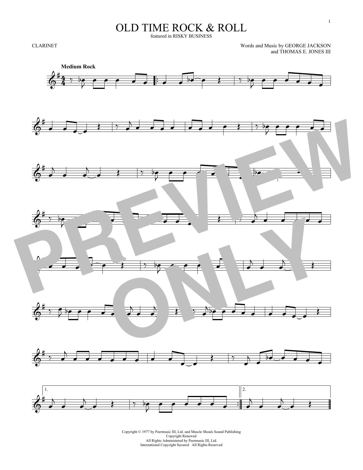 Old Time Rock & Roll Sheet Music