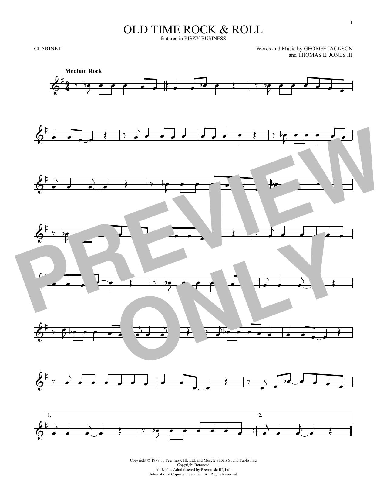 Partition clarinette Old Time Rock & Roll de Bob Seger - Clarinette